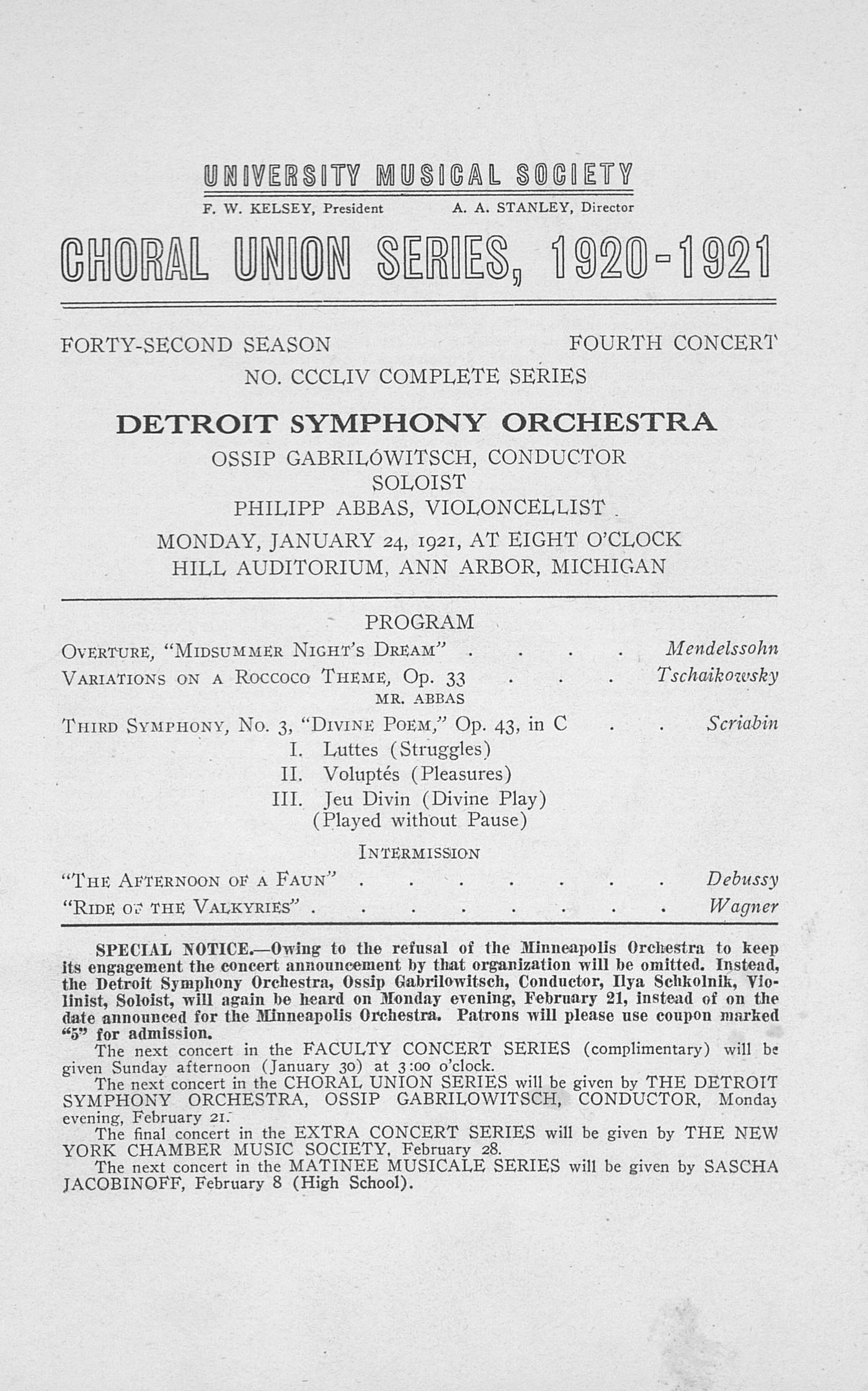 UMS Concert Program, January 24, 1921: Choral Union Series -- Detroit Symphony Orchestra image