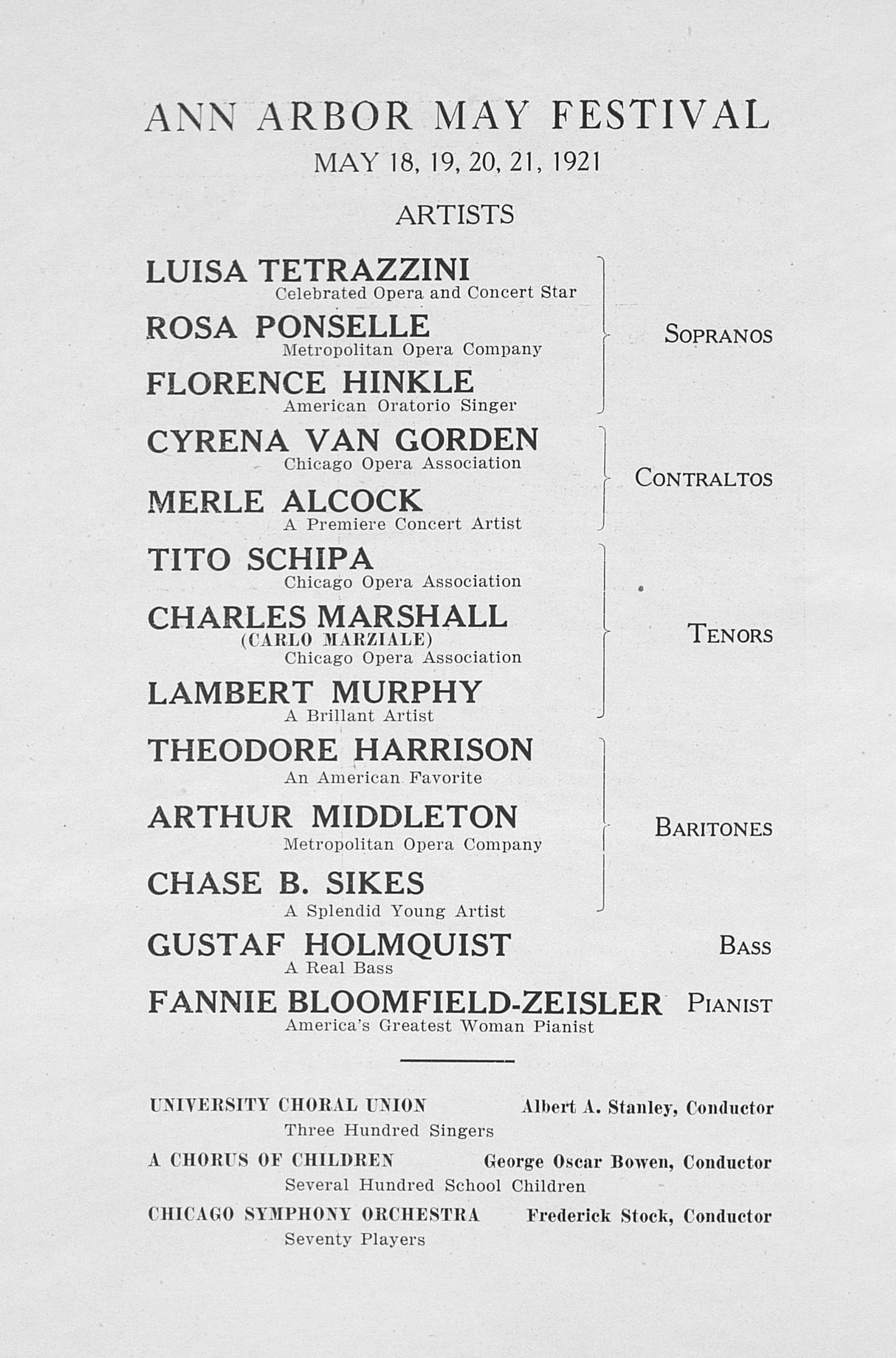 UMS Concert Program, February 21, 1921: Choral Union Series -- Detroit Symphony Orchestra image