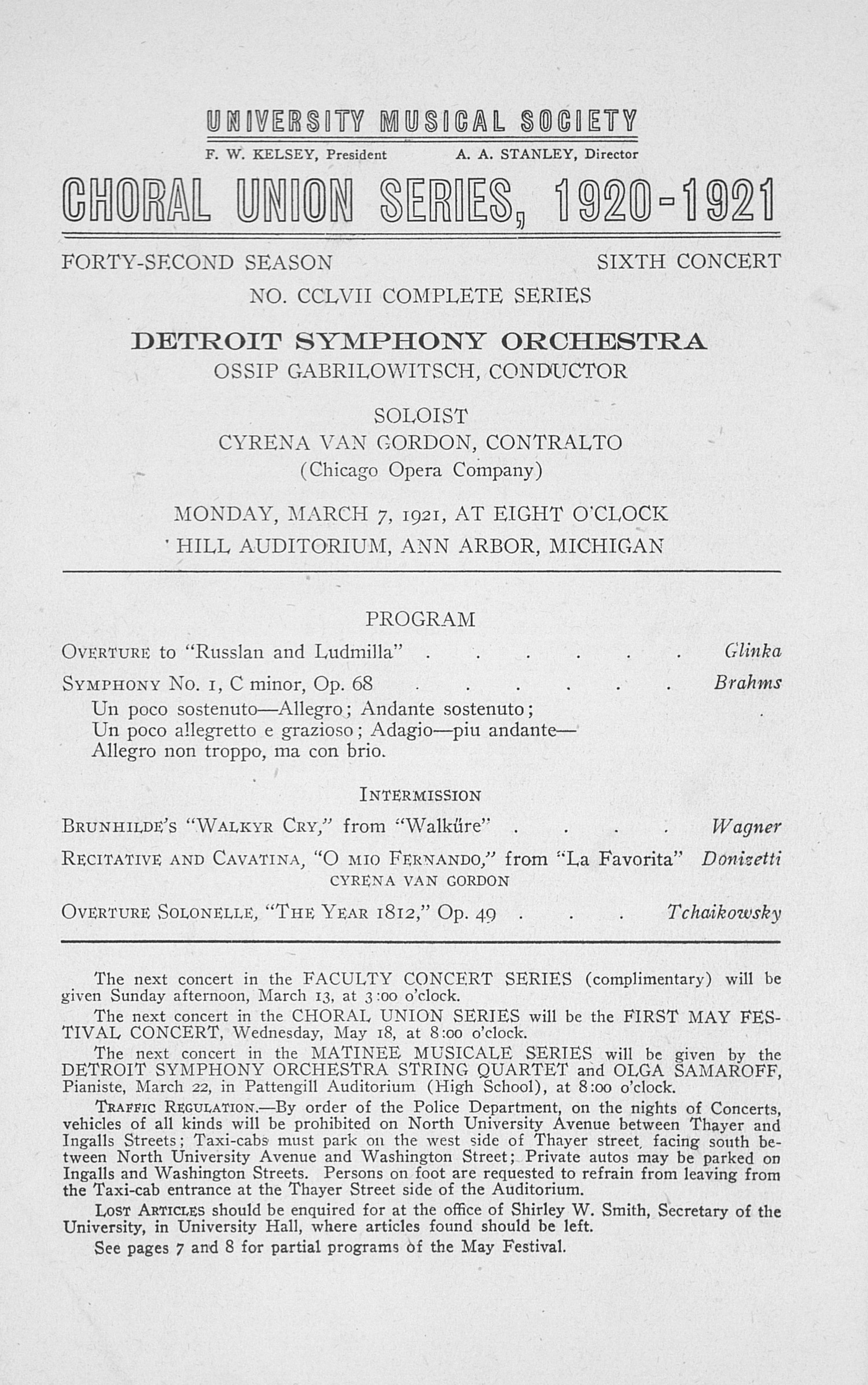 UMS Concert Program, March 7, 1921: Choral Union Series -- Detroit Symphony Orchestra image