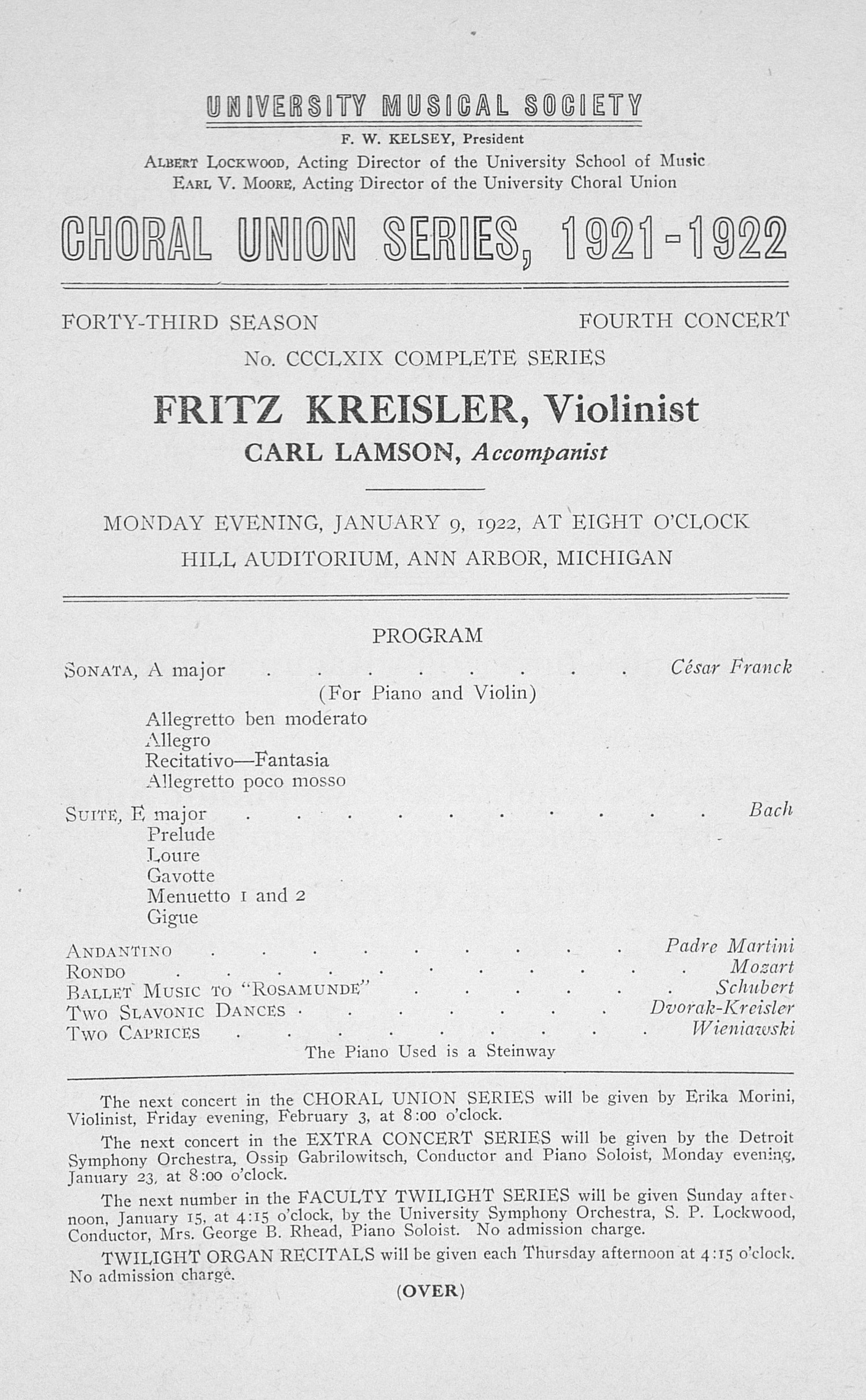 UMS Concert Program, January 9, 1922: Choral Union Series -- Fritz Kreisler image