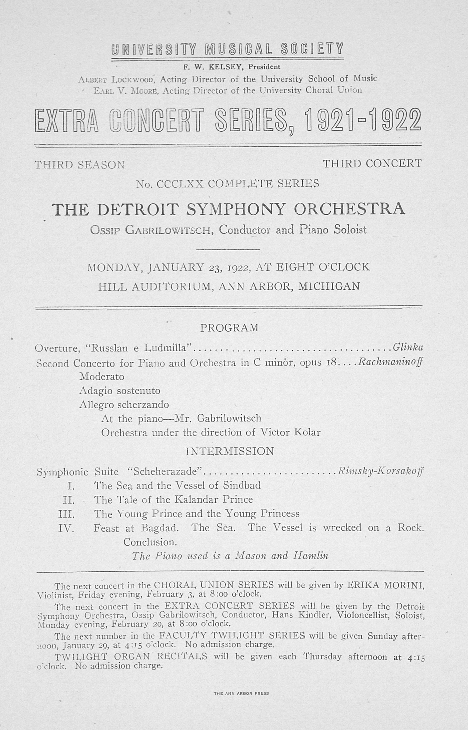 UMS Concert Program, January 23, 1922: Extra Concert Series -- The Detroit Symphony Orchestra image