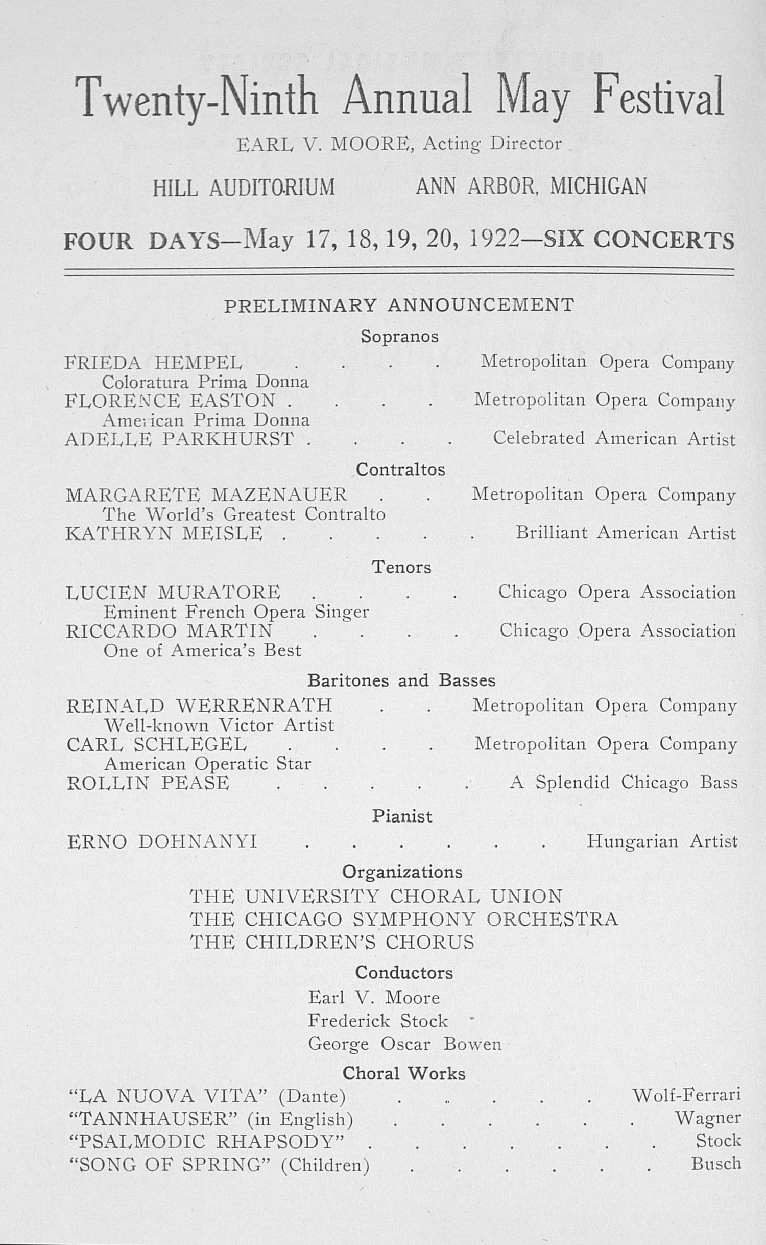 UMS Concert Program, February 20, 1922: The Detroit Symphony Orchestra --  image