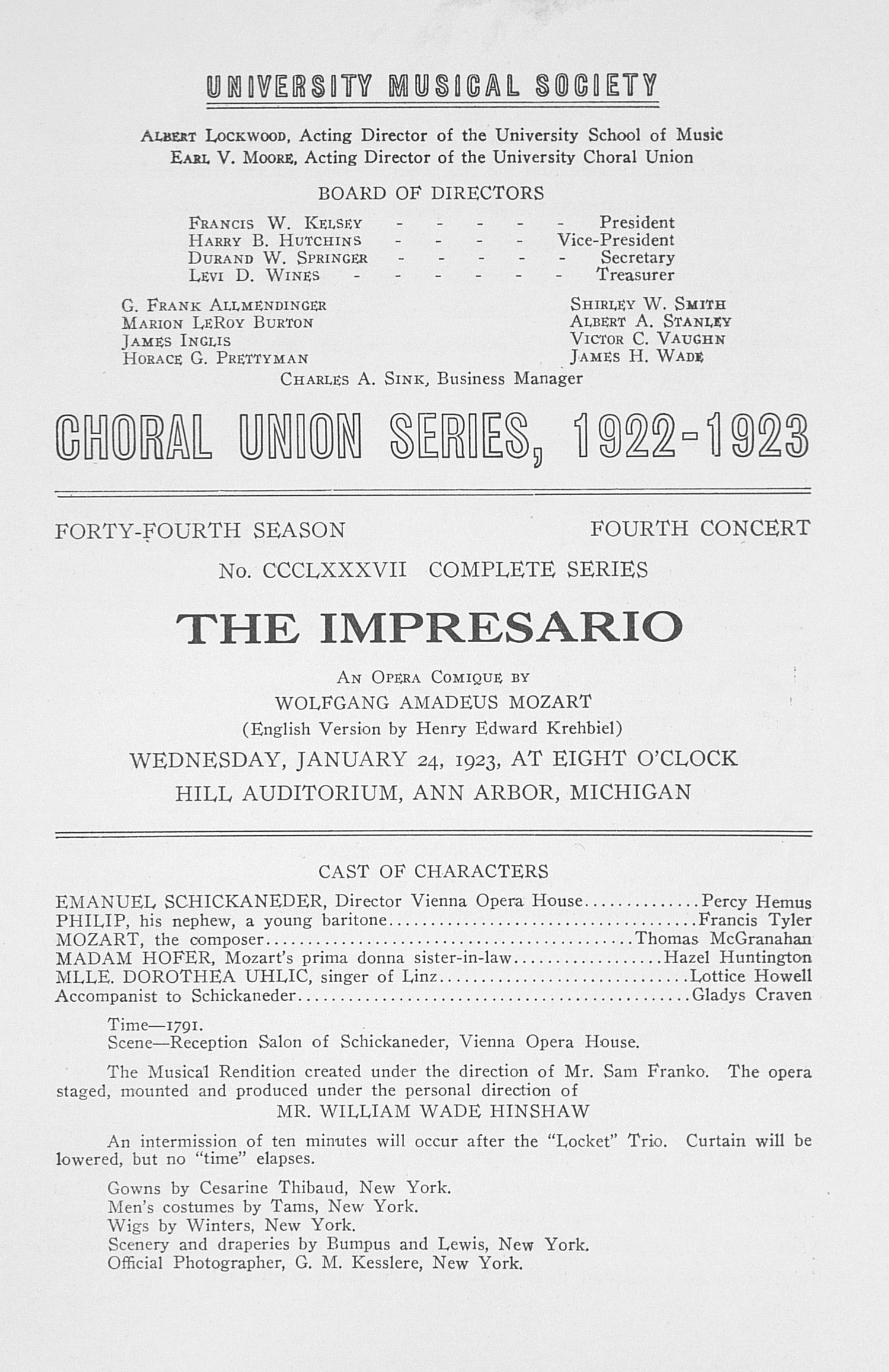 UMS Concert Program, January 24, 1923: The Impresario -- Wolfgang Amadeus Mozart image