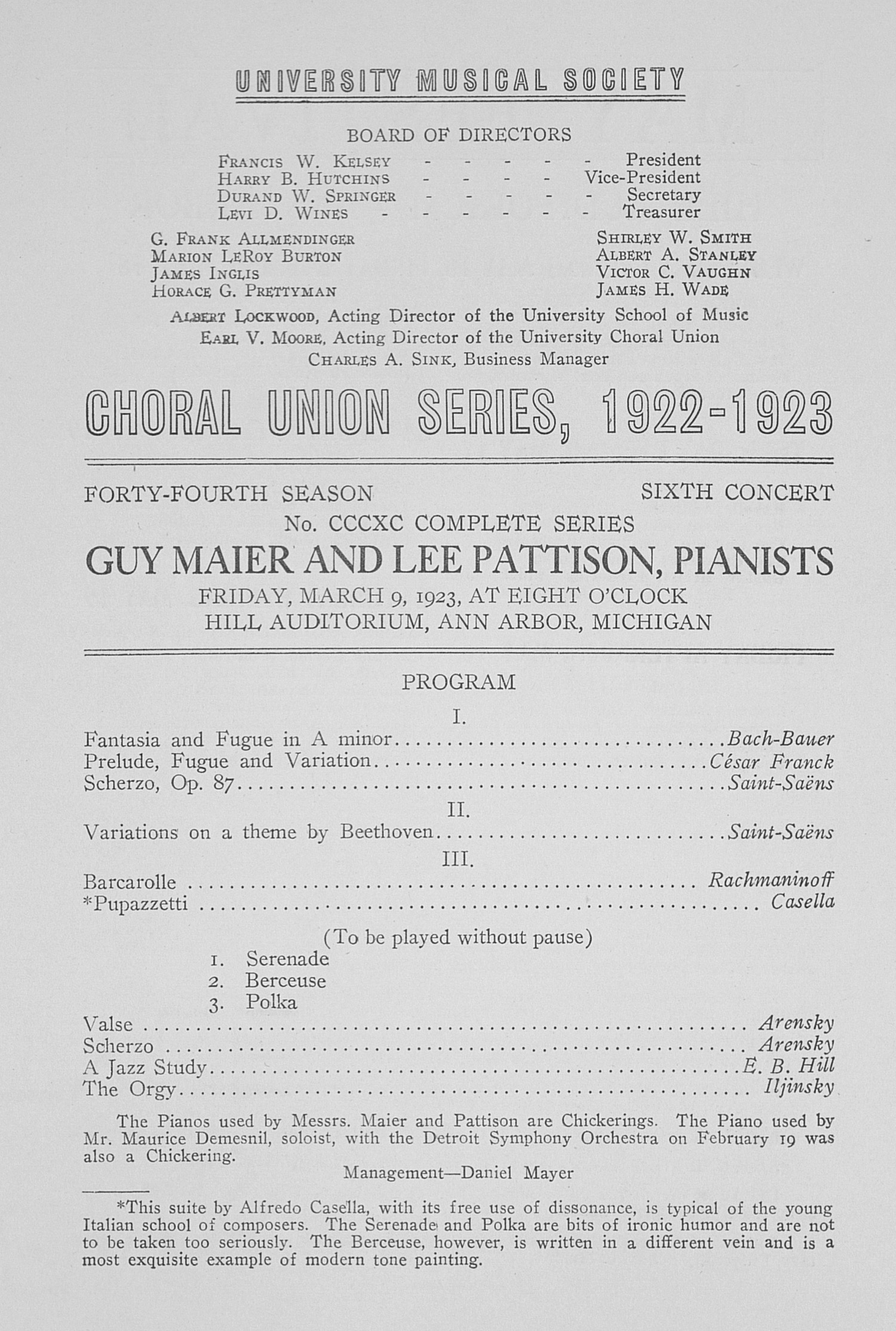 UMS Concert Program, March 9, 1923: Choral Union Series -- Guy Maier And Lee Pattison image