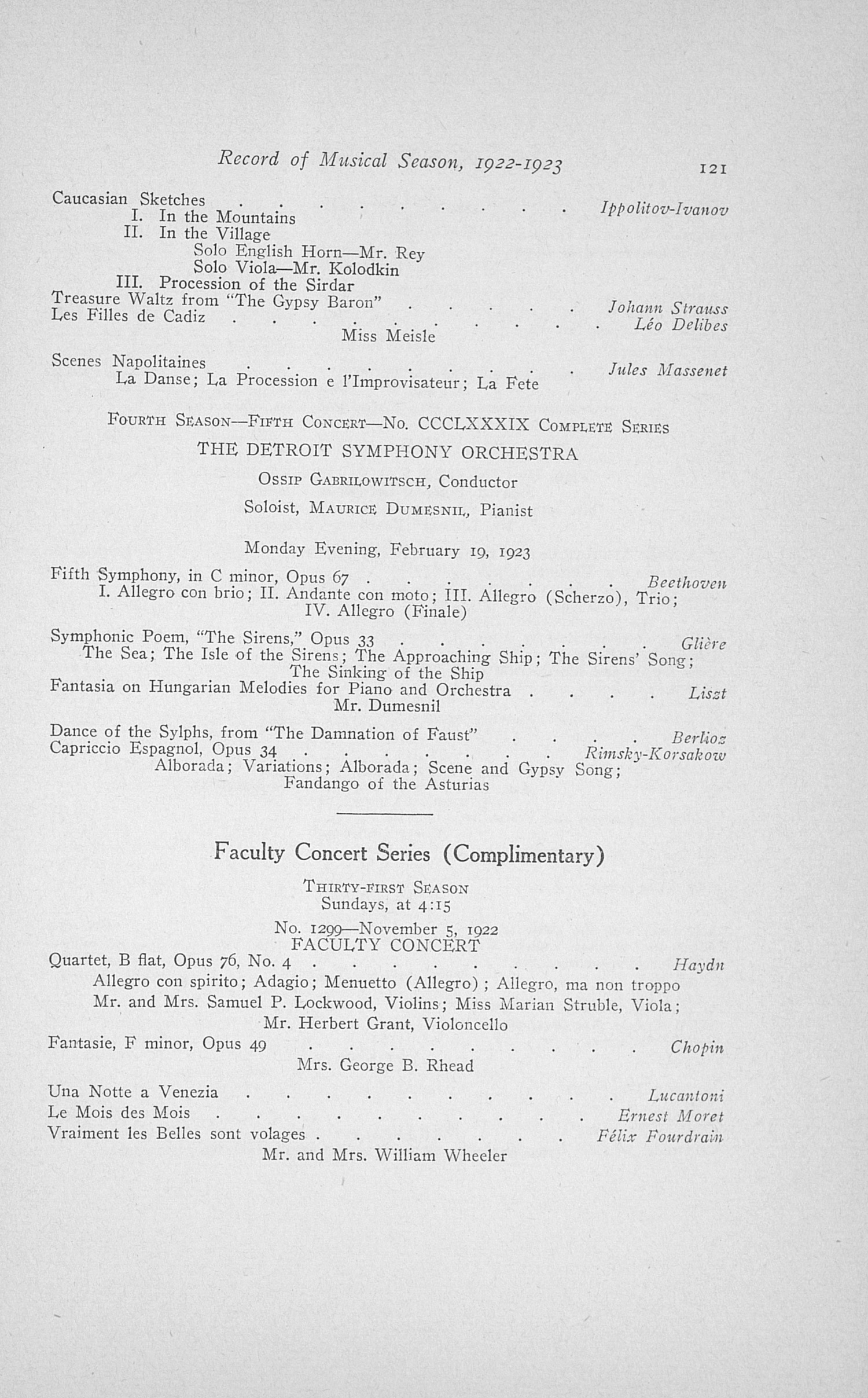 UMS Concert Program, May 16, 17, 18, 19, 1923: Thirtieth Annual May Festival Of The University Of Michigan -- Earl V. Moore image