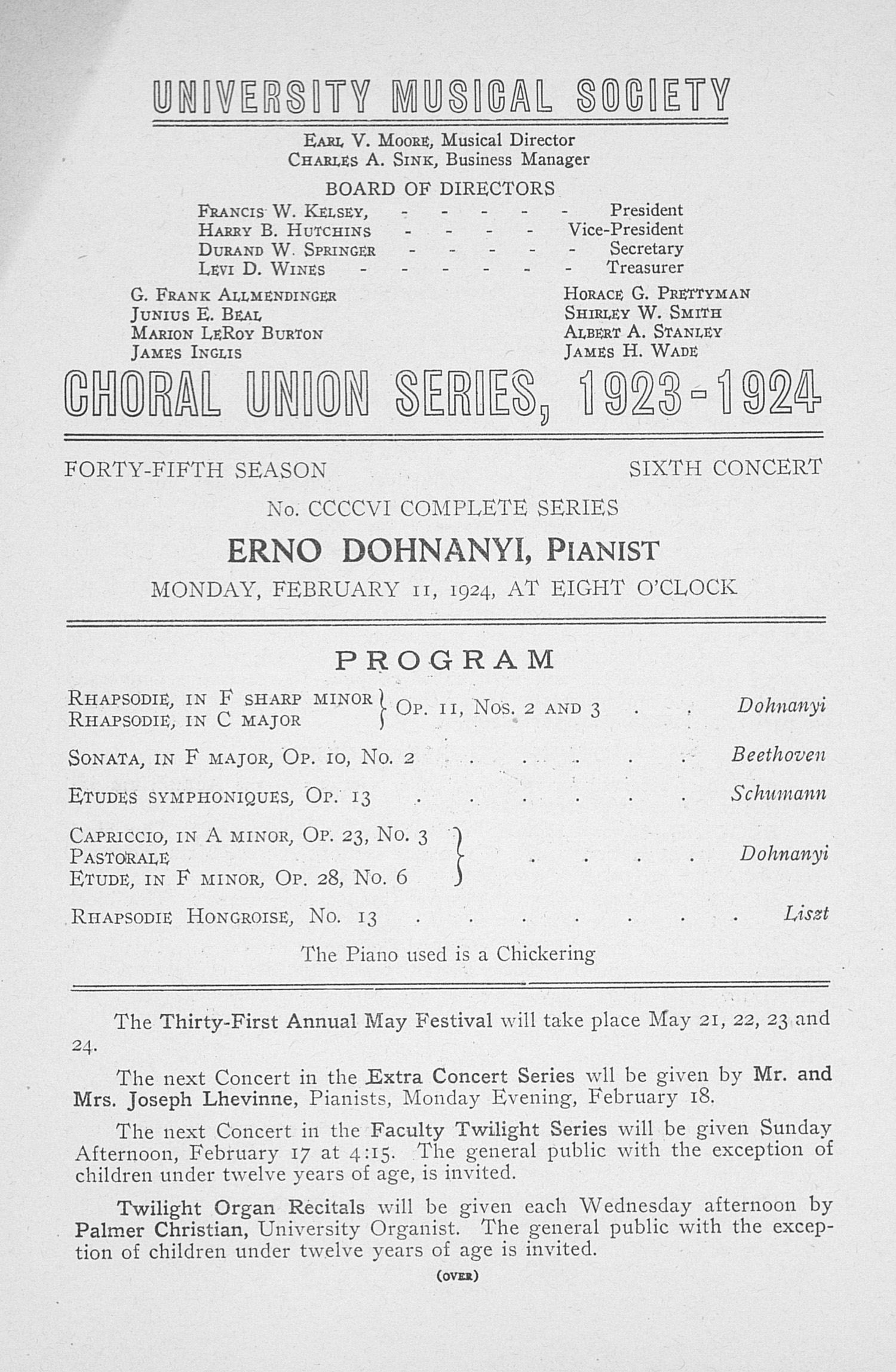 UMS Concert Program, February 11, 1924: Choral Union Series -- Erno Dohnanyi image