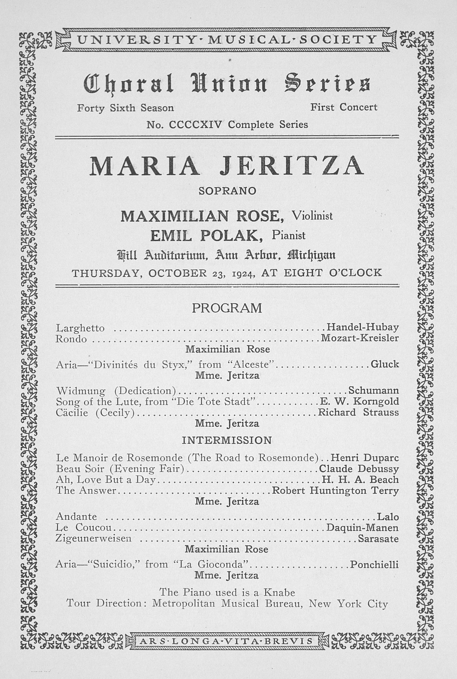 UMS Concert Program, October 23, 1924: Choral Union Series -- Maria Jeritza image
