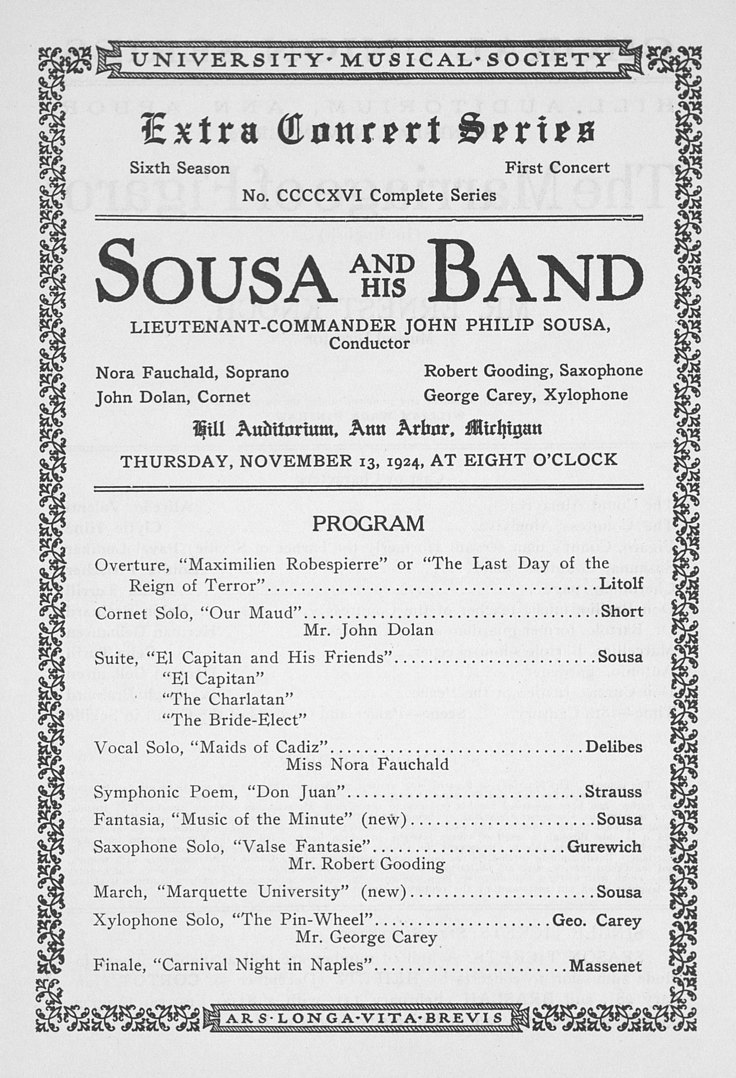 UMS Concert Program, November 13, 1924: Extra Concert Series -- Sousa And His Band image