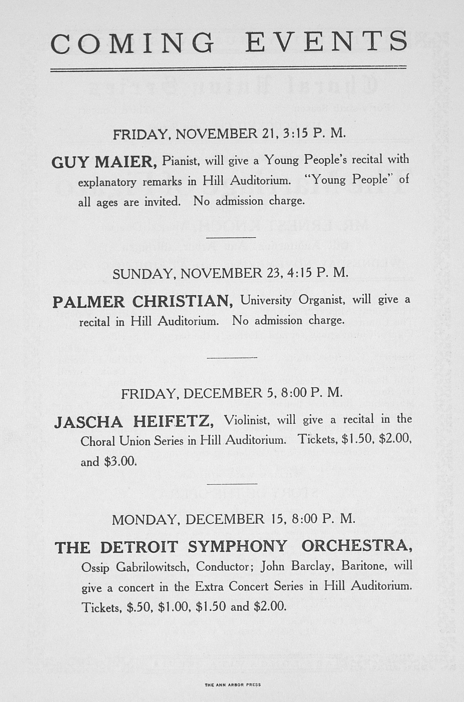 ums concert program november 19 1924 choral union series the