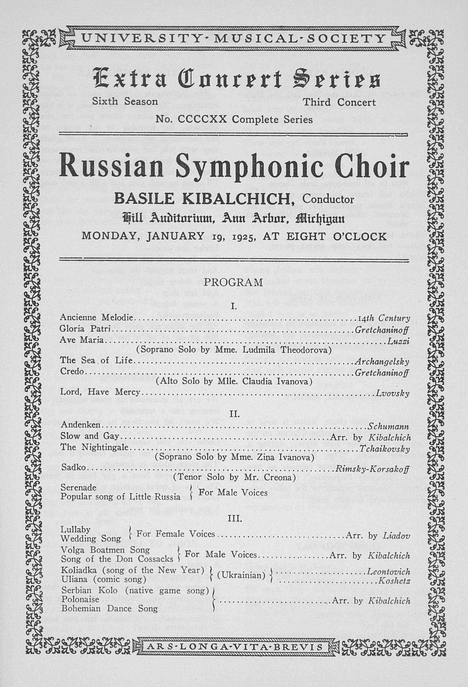 UMS Concert Program, January 19, 1925: Russian Symphonic Choir -- Basile Kibalchich image