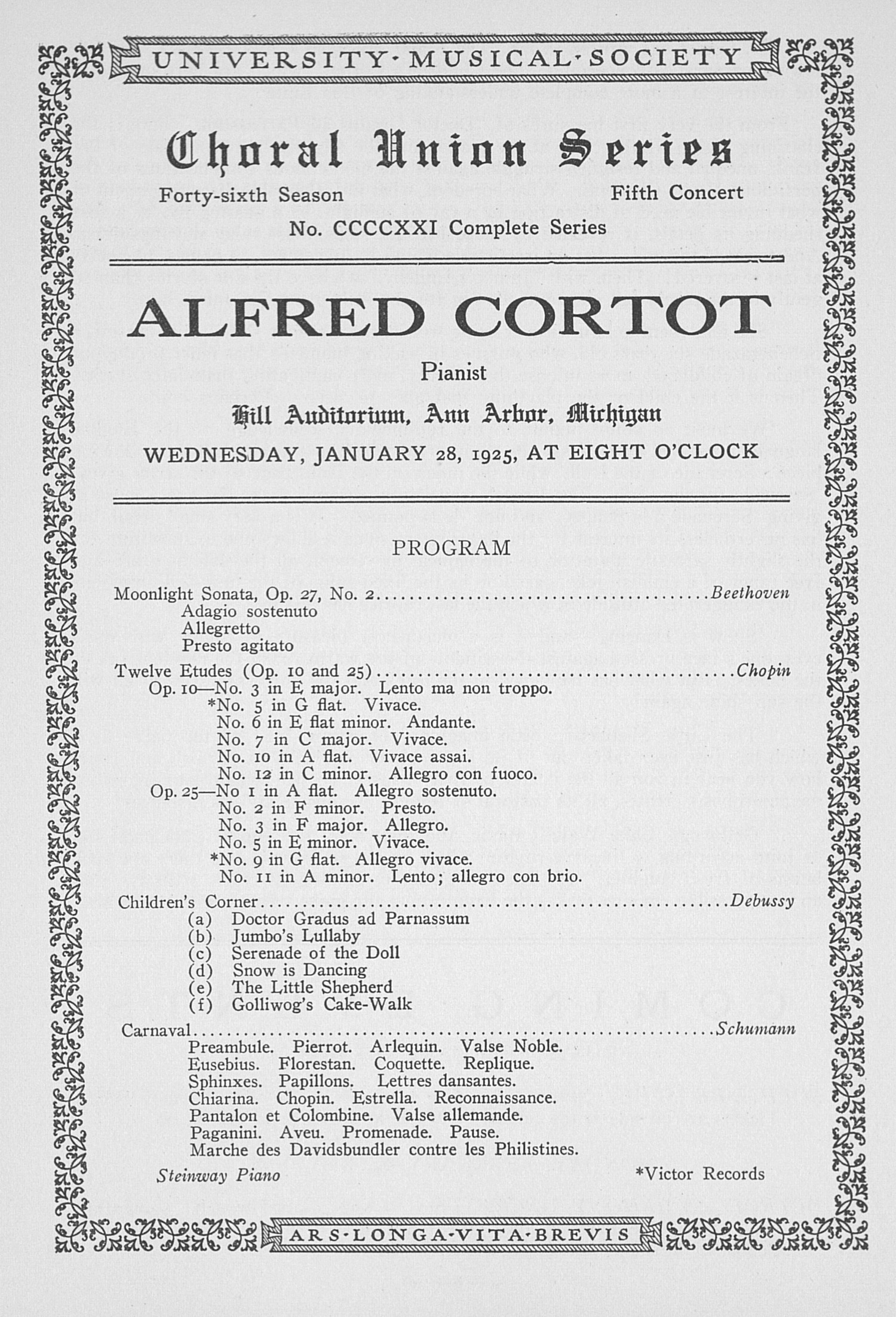 UMS Concert Program, January 28, 1925: Choral Union Series -- Alfred Cortot image