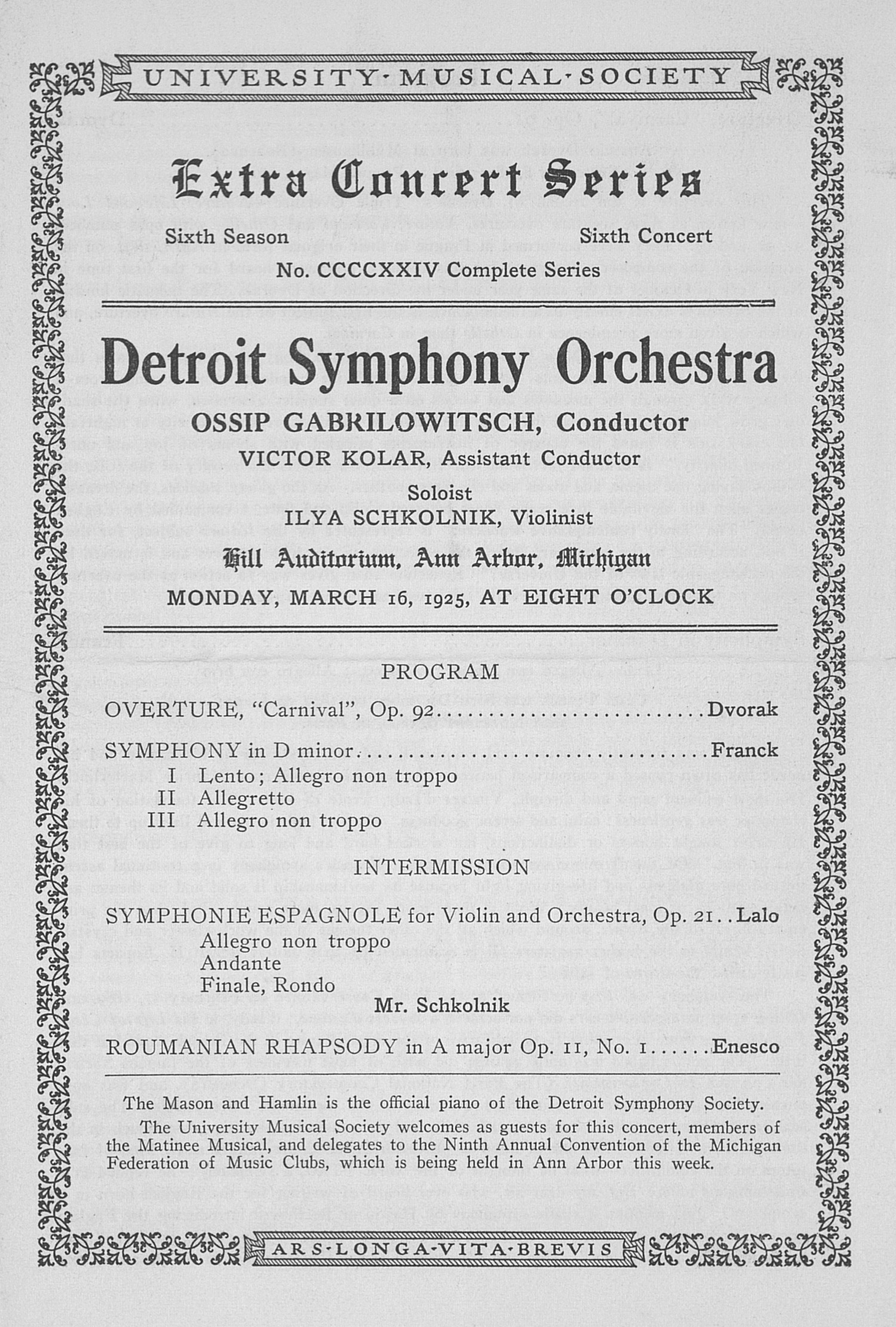 UMS Concert Program, March 16, 1925: Extra Concert Series -- Detroit Symphony Orchestra image