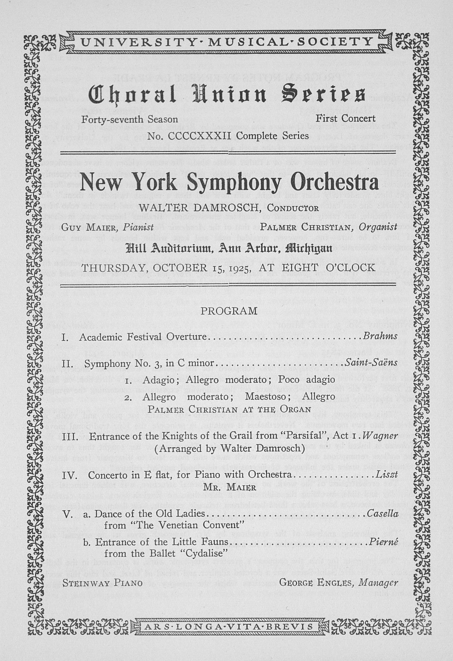 UMS Concert Program, October 15, 1925: Choral Union Series -- New York Symphony Orchestra image