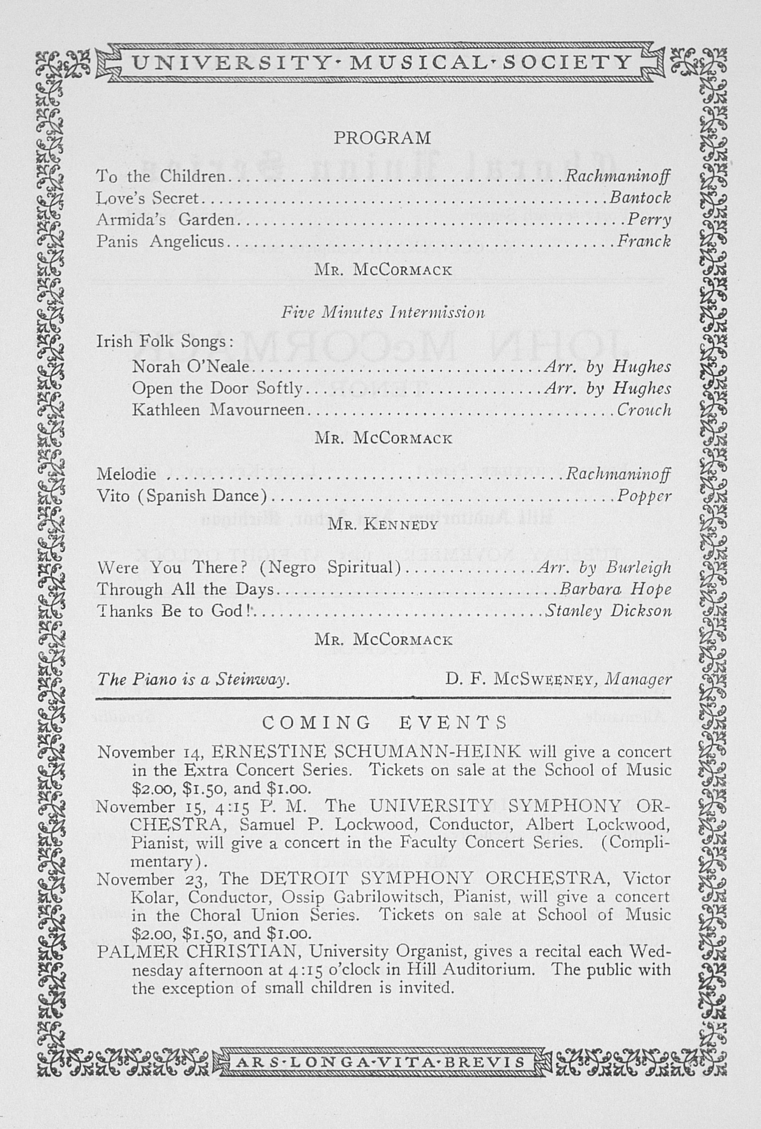 UMS Concert Program, November 3, 1925: Choral Union Series -- John Mccormack image