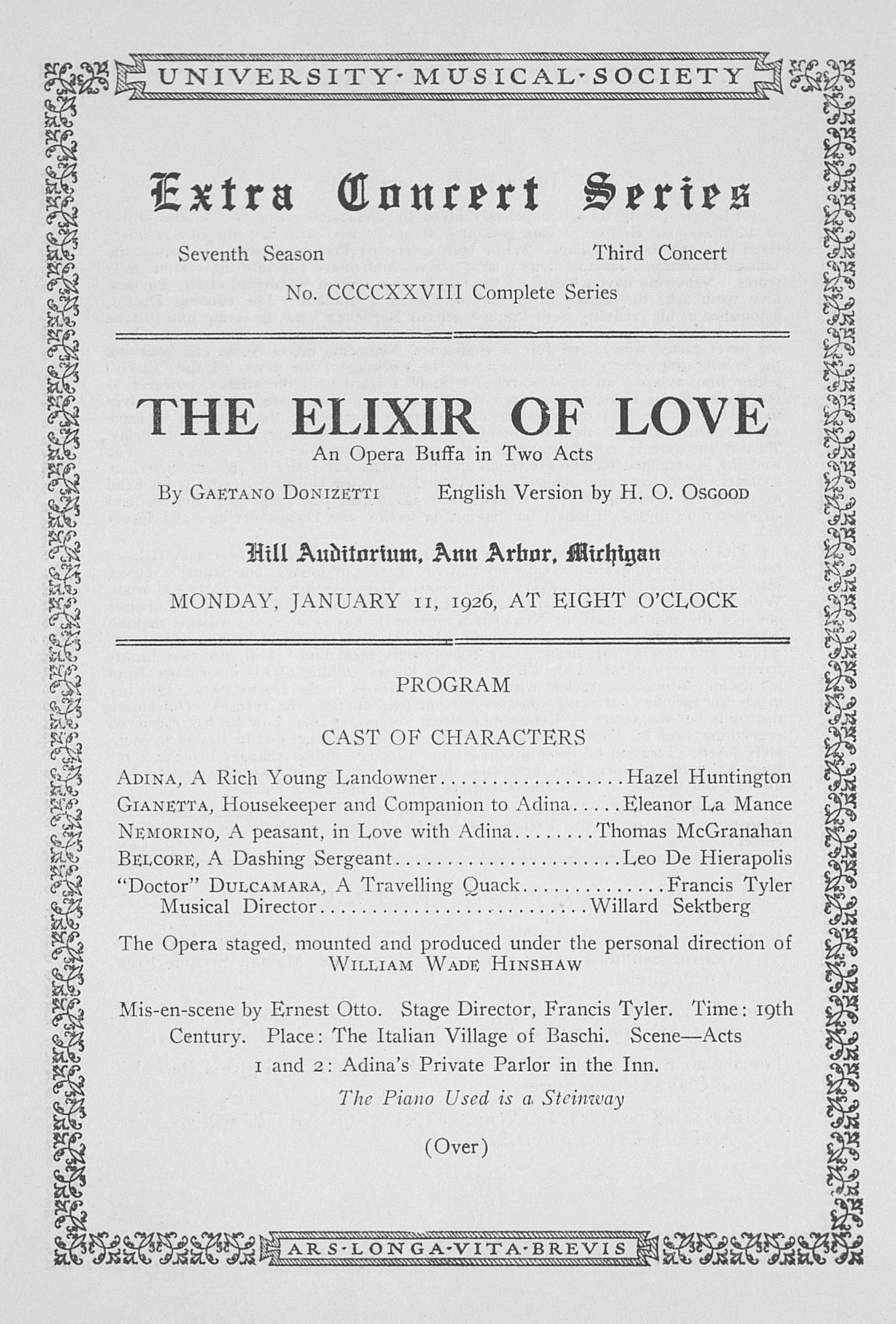 UMS Concert Program, January 11, 1926: Extra Concert Series -- The Elixir Of Love image
