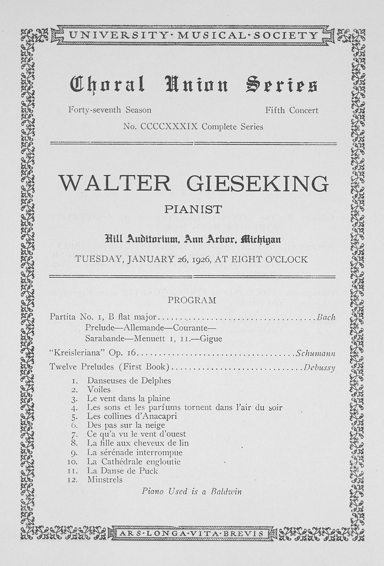 UMS Concert Program, January 26, 1926: Choral Union Series -- Walter Gieseking image
