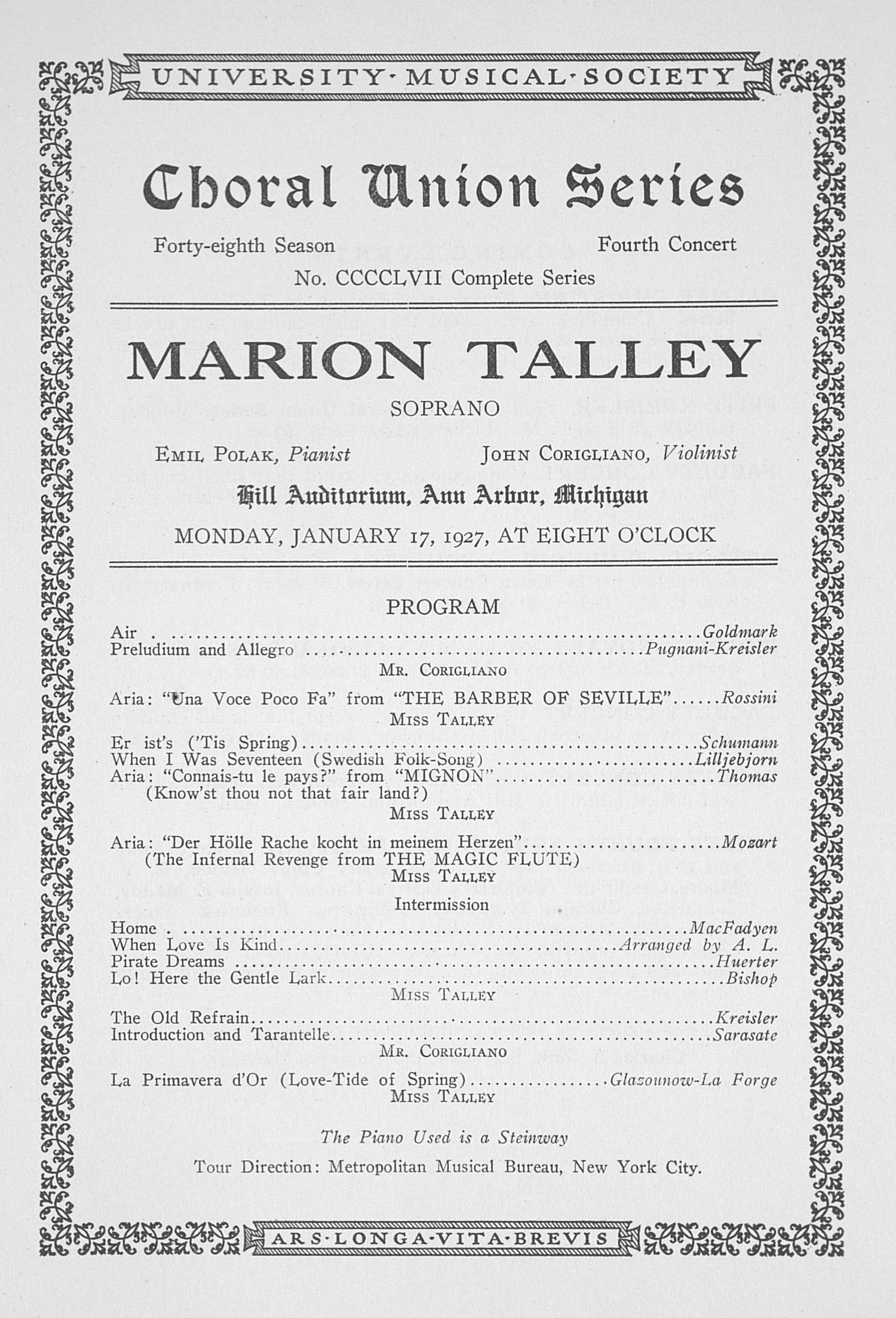UMS Concert Program, January 17, 1927: Choral Union Series -- Marion Talley image