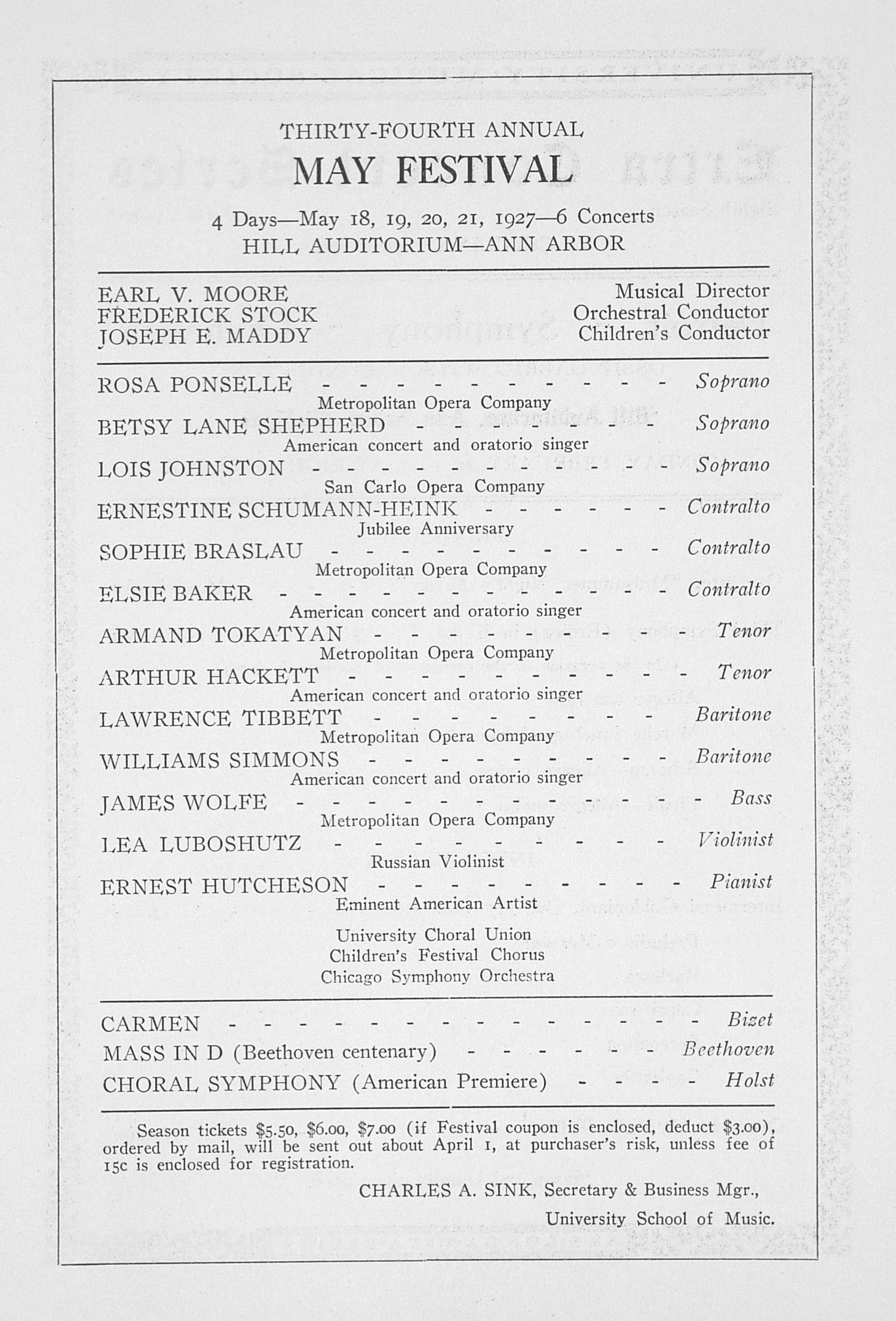 UMS Concert Program, February 21, 1927: Extra Concert Series -- Detroit Symphony Orchestra image