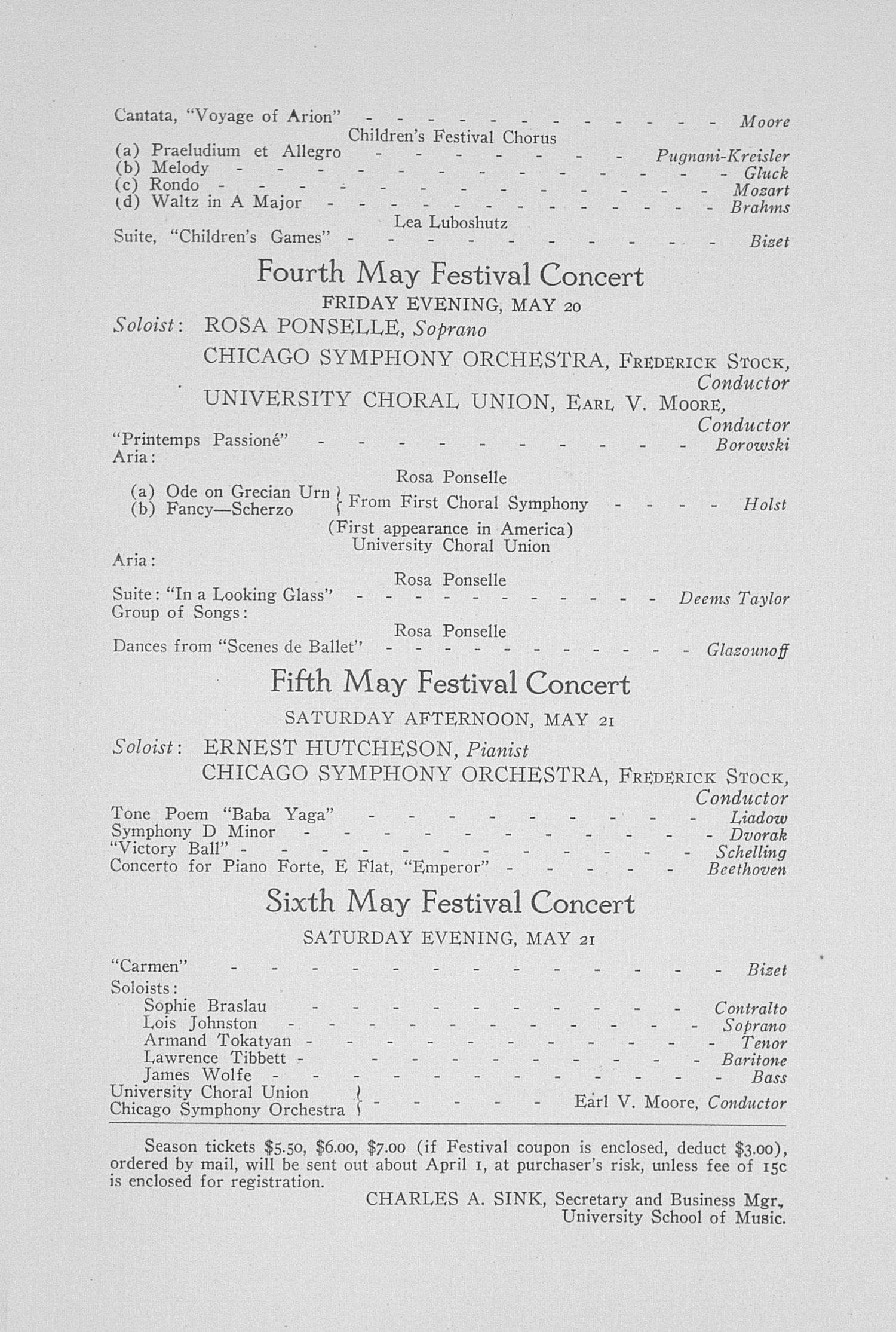 UMS Concert Program, March 2, 1927: Choral Union Series -- Guiomar Novaes image