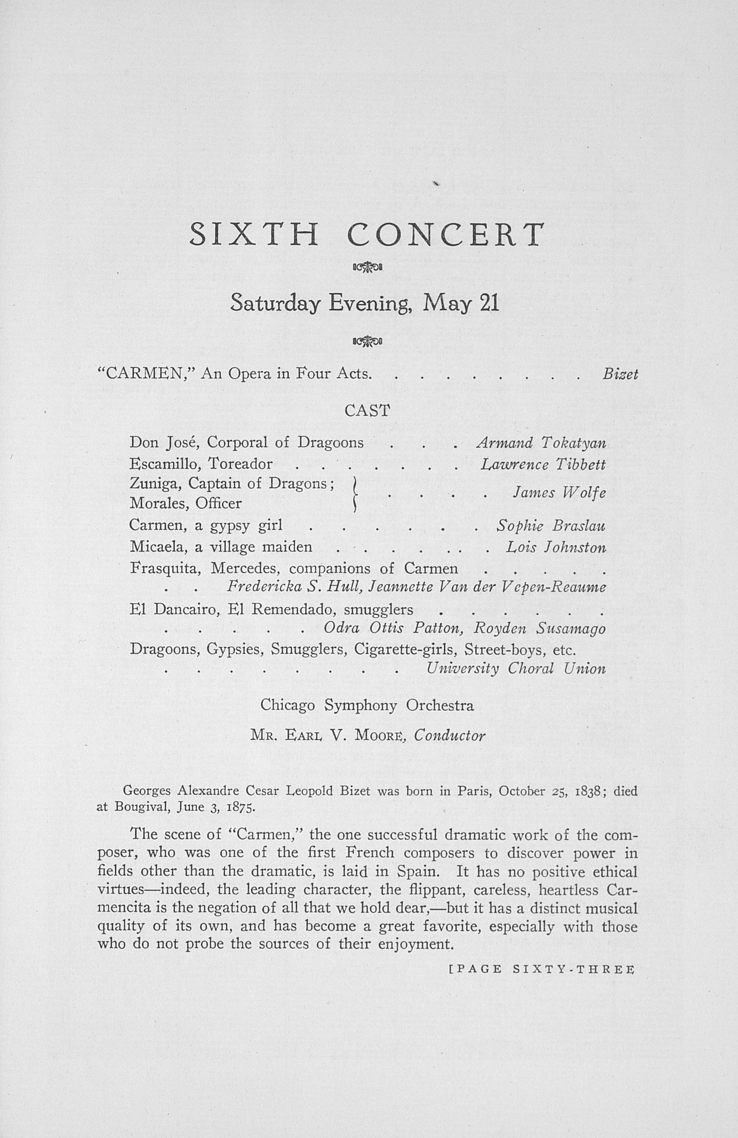 UMS Concert Program, May 19: The Thirty-fourth Annual May Festival -- Earl V. Moore image