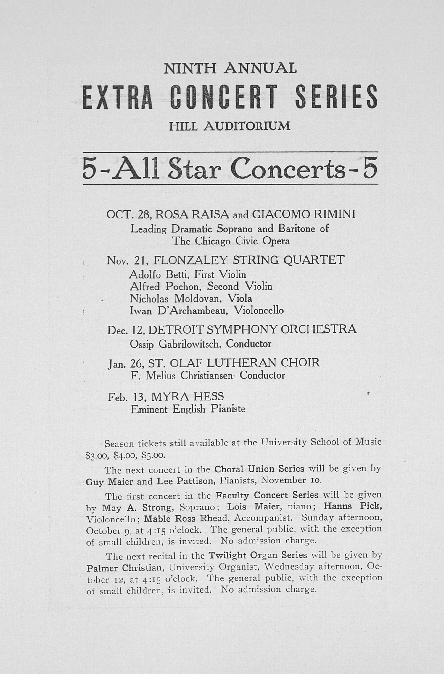 UMS Concert Program, October 7, 1927: Forty-ninth Annual Choral Union Concert Series -- Beniamino Gigli image