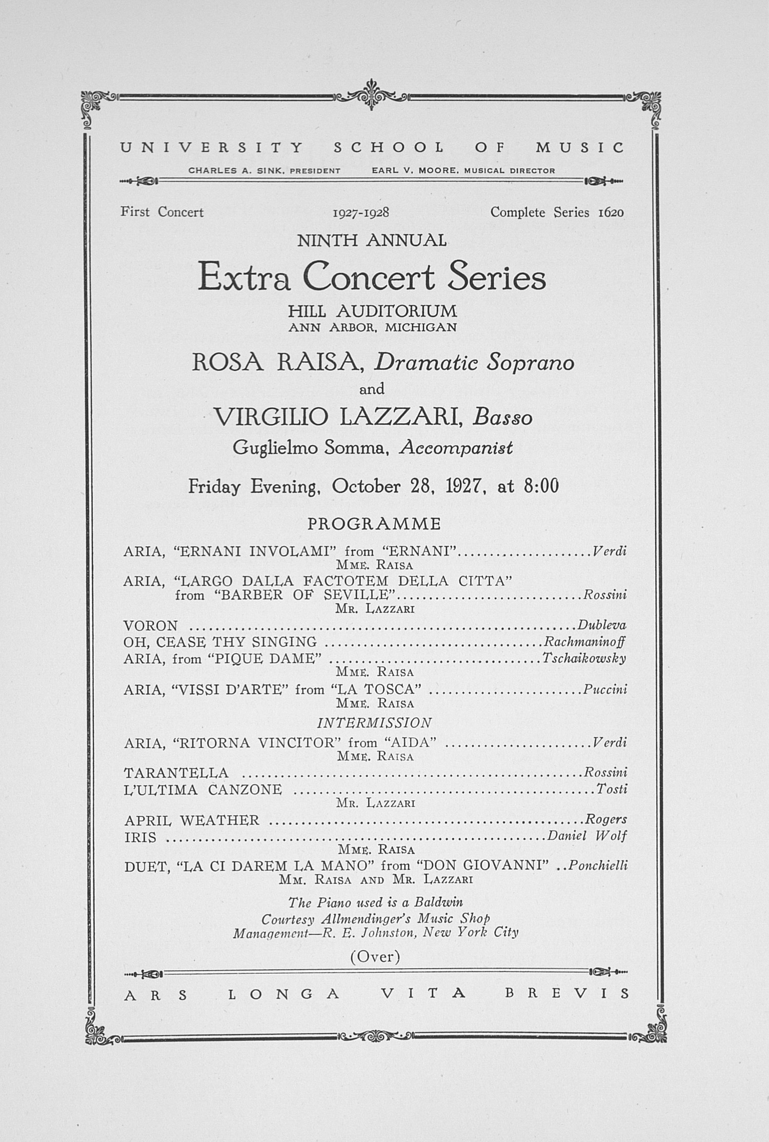 UMS Concert Program, October 28, 1927: Ninth Annual Extra Concert Series -- Rosa Raisa image