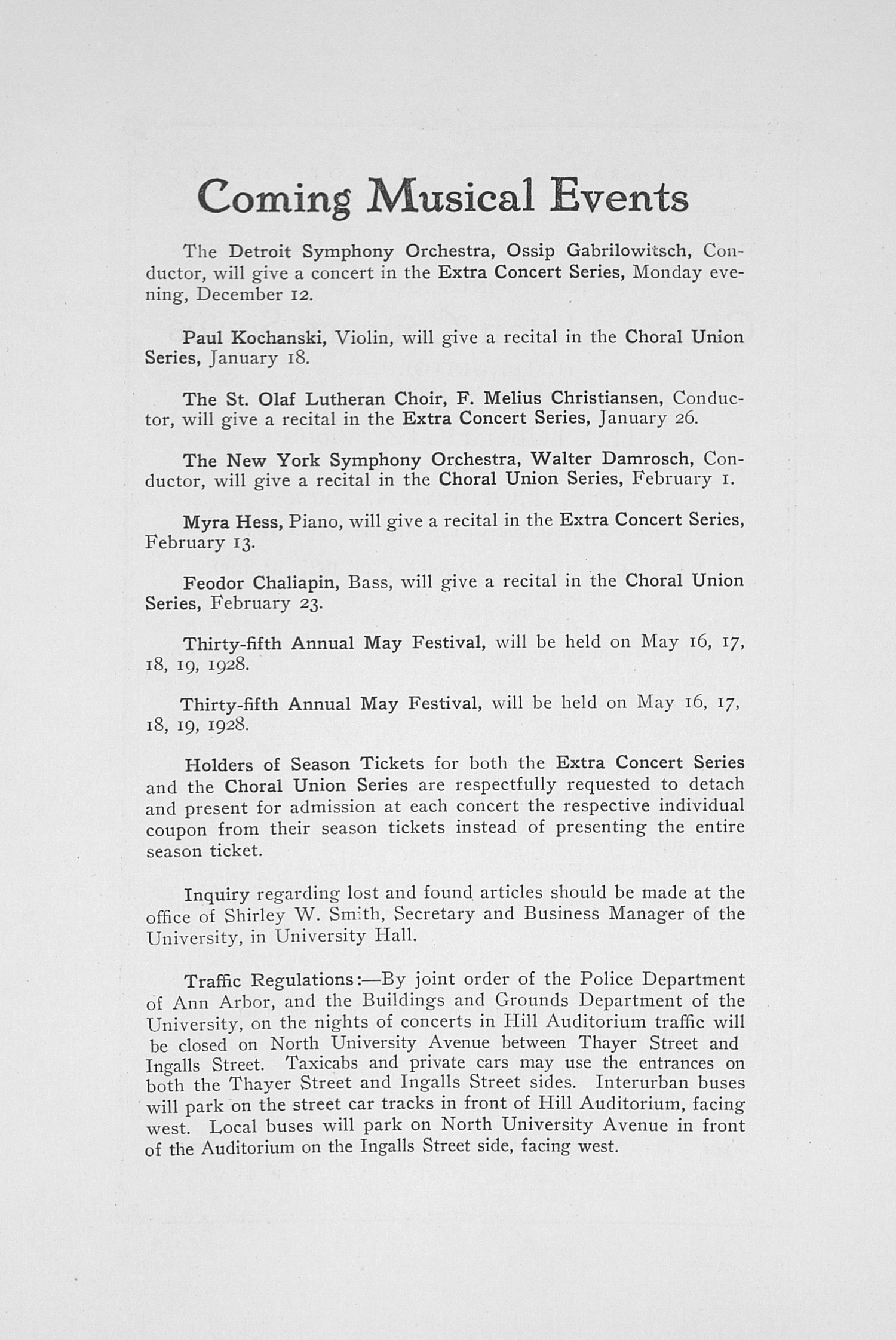 UMS Concert Program, November 23, 1927: Forty-ninth Annual Choral Union Concert Series -- Lea Luboshutz image