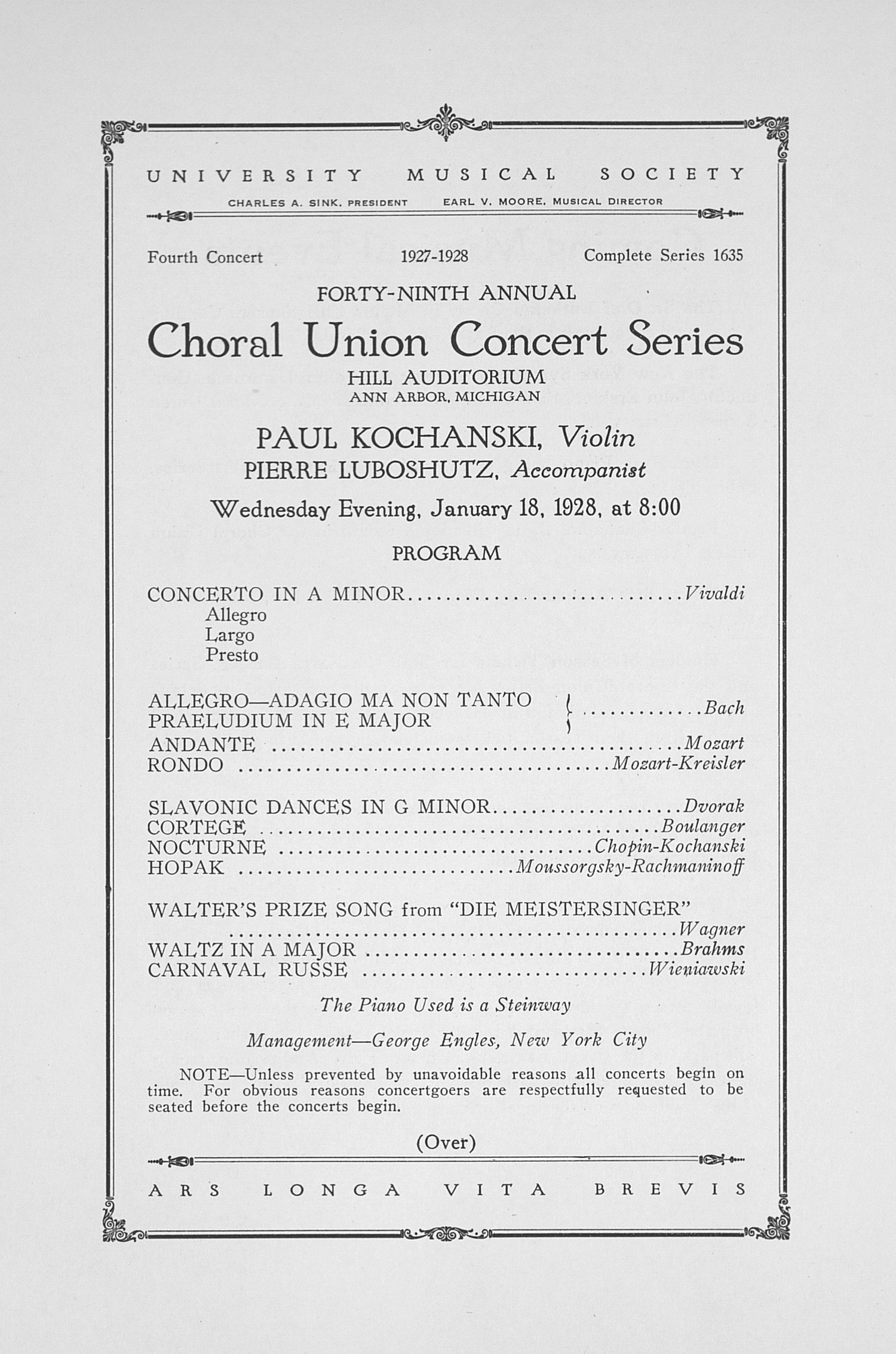 UMS Concert Program, January 18, 1928: Forty-ninth Annual Choral Union Concert Series -- Paul Kochanski image