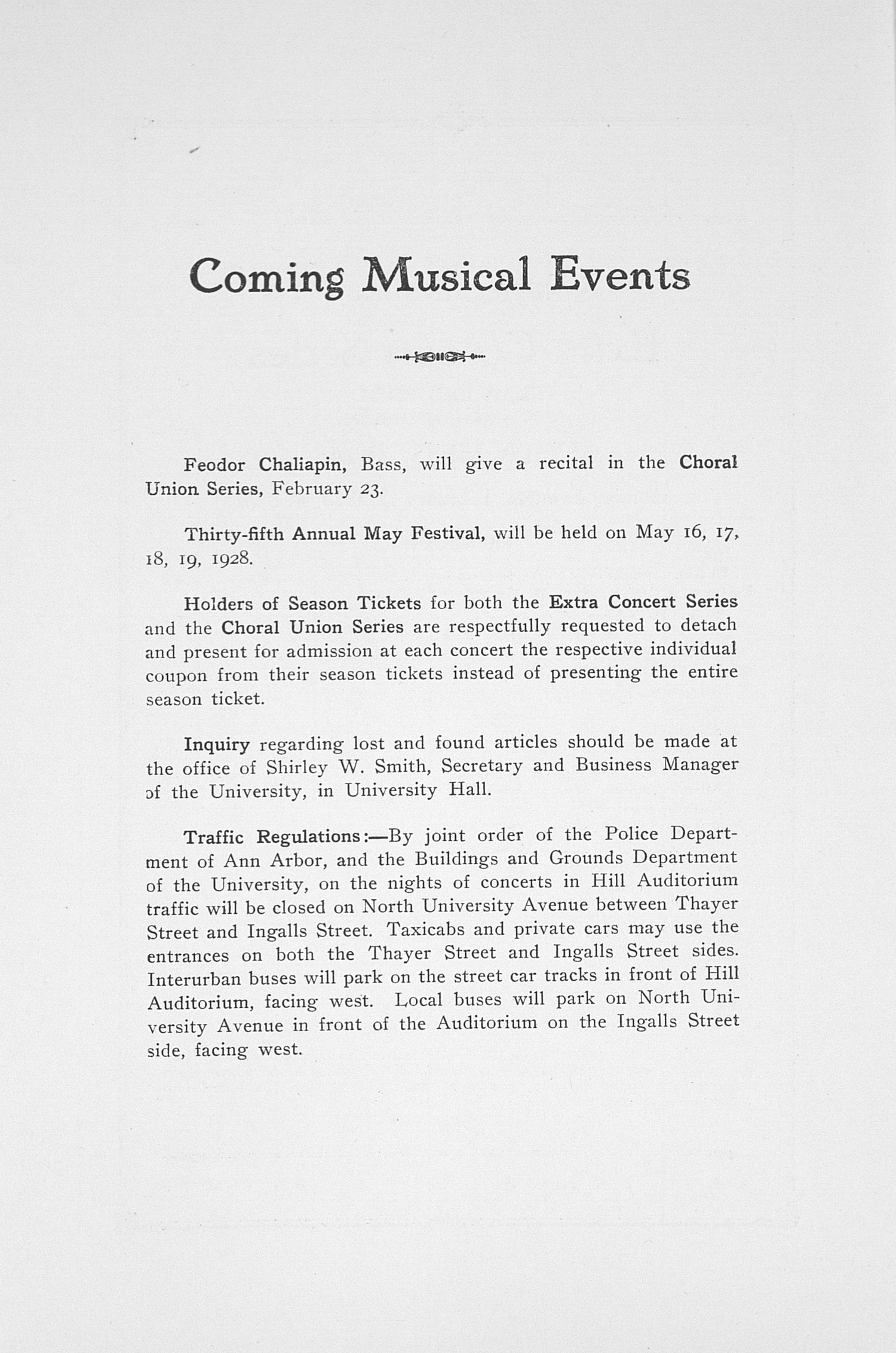 UMS Concert Program, February 13, 1928: Ninth Annual Extra Concert Series -- Myra Hess image