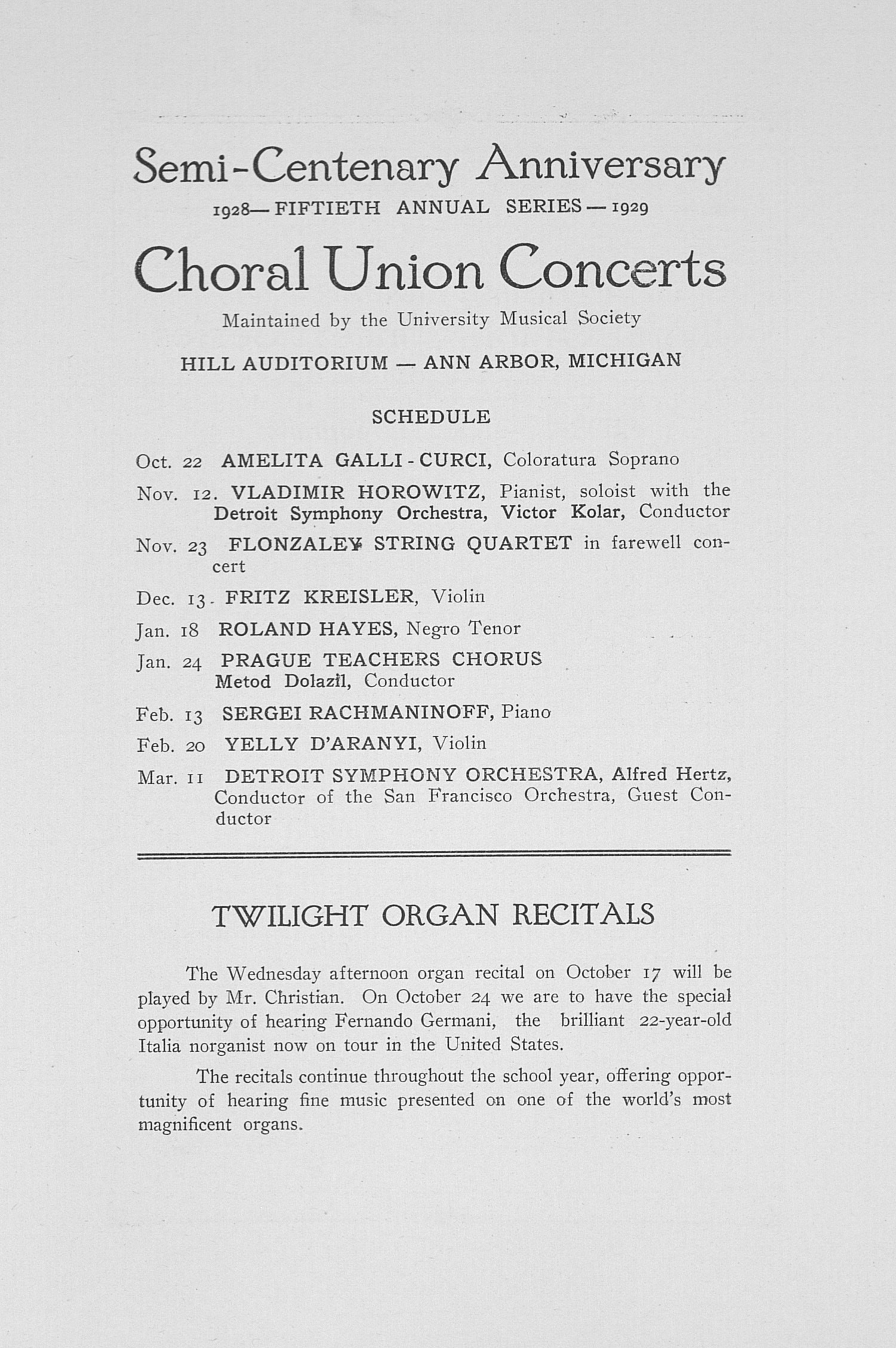 UMS Concert Program, October 10, 1928: Fiftieth Annual Choral Union Concert Series -- Rosa Ponselle image