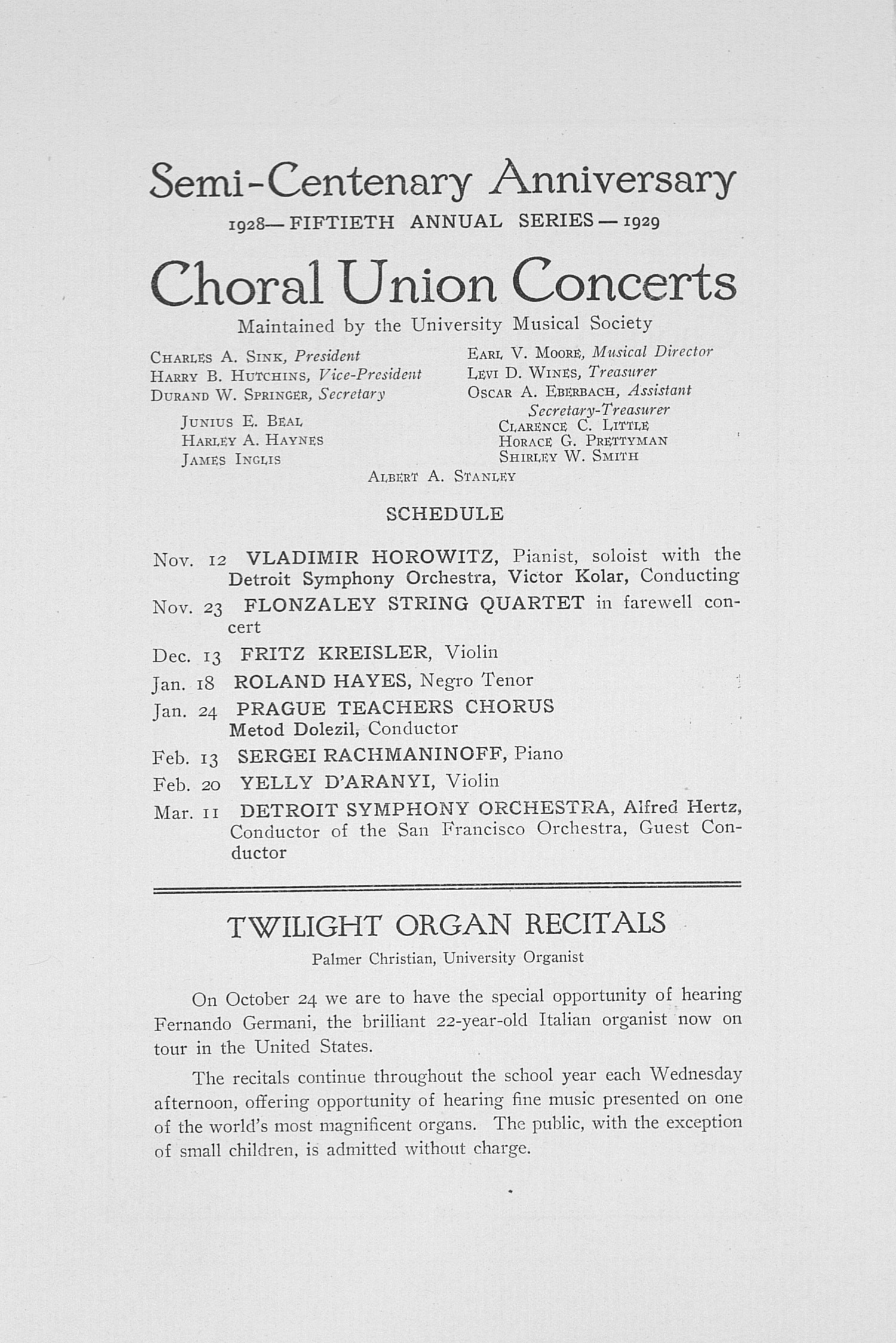 UMS Concert Program, October 22, 1928: Fiftieth Annual Choral Union Concert Series -- Amelita Galli-curci image