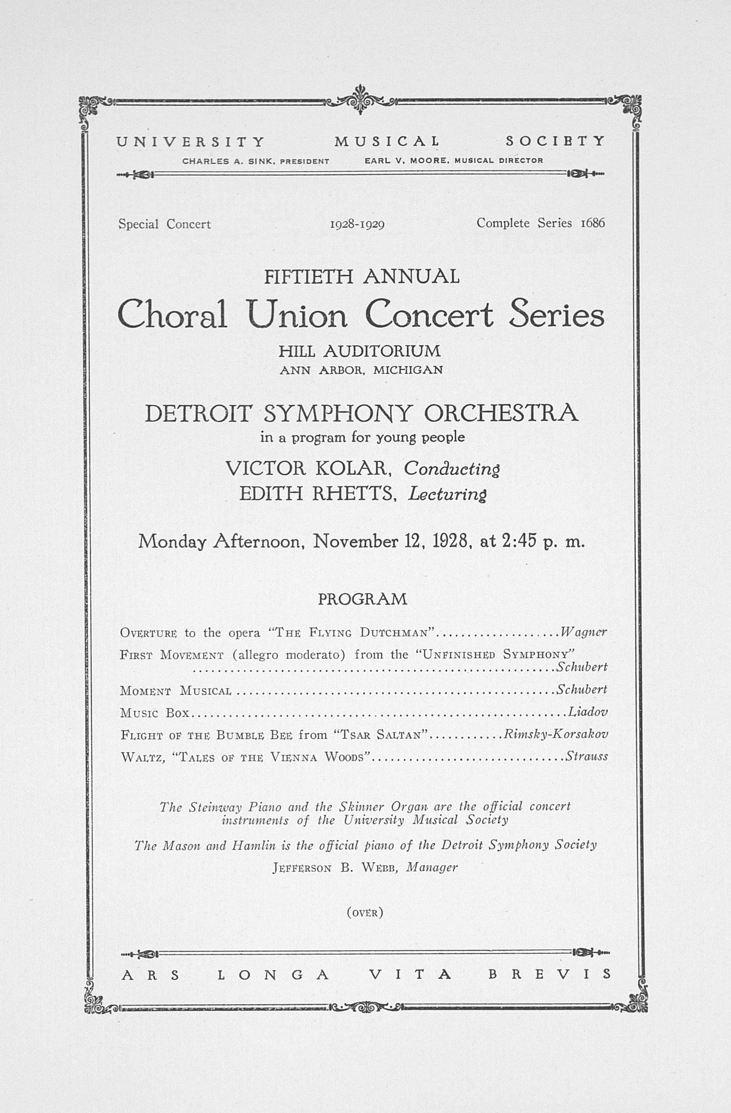 UMS Concert Program, November 12, 1928: Fiftieth Annual Choral Union Concert Series -- Detroit Symphony Orchestra image
