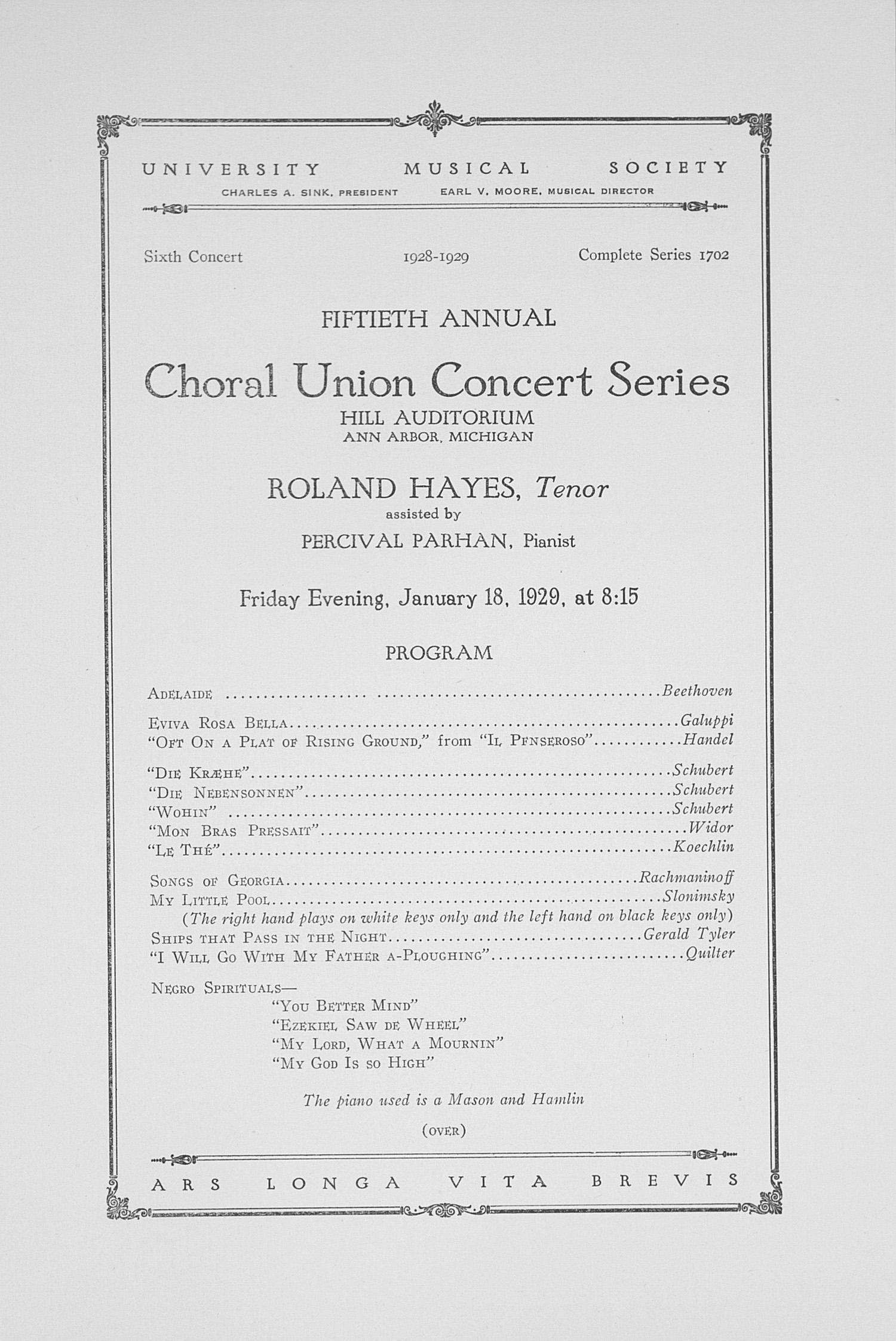 UMS Concert Program, January 18, 1929: Fiftieth Annual Choral Union Concert Series -- Roland Hayes image