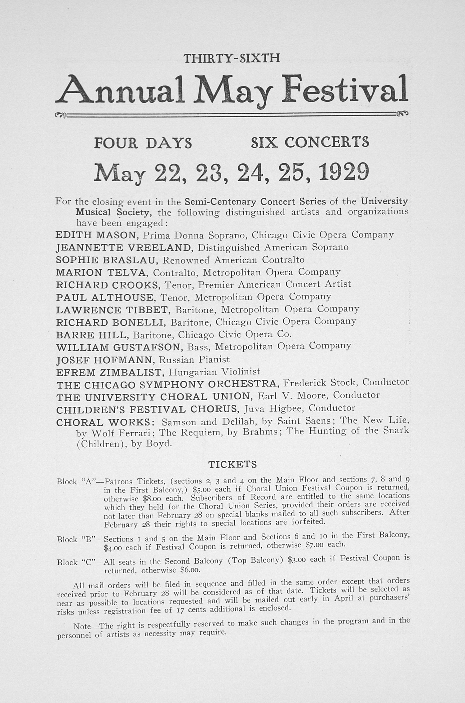 UMS Concert Program, February 20, 1929: Fiftieth Annual Choral Union Concert Series -- Yelly D'aranyi image