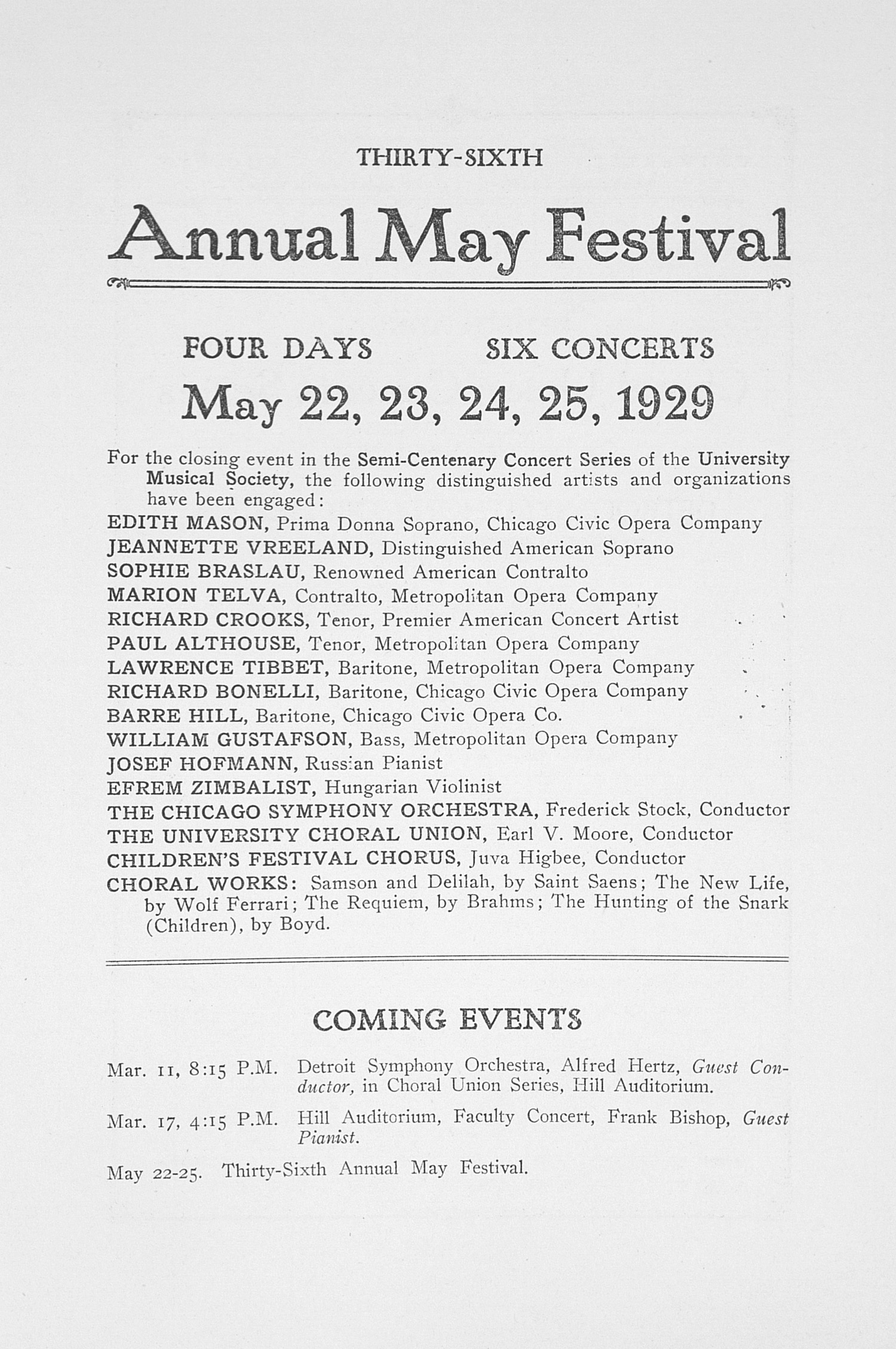 UMS Concert Program, March 11, 1929: Fiftieth Annual Choral Union Concert Series -- Detroit Symphony Orchestra image