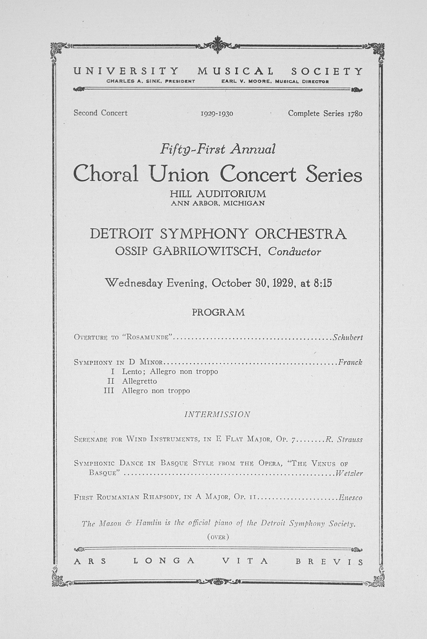 UMS Concert Program, October 30, 1929: Fifty-first Annual Choral Union Concert Series -- Detroit Symphony Orchestra image