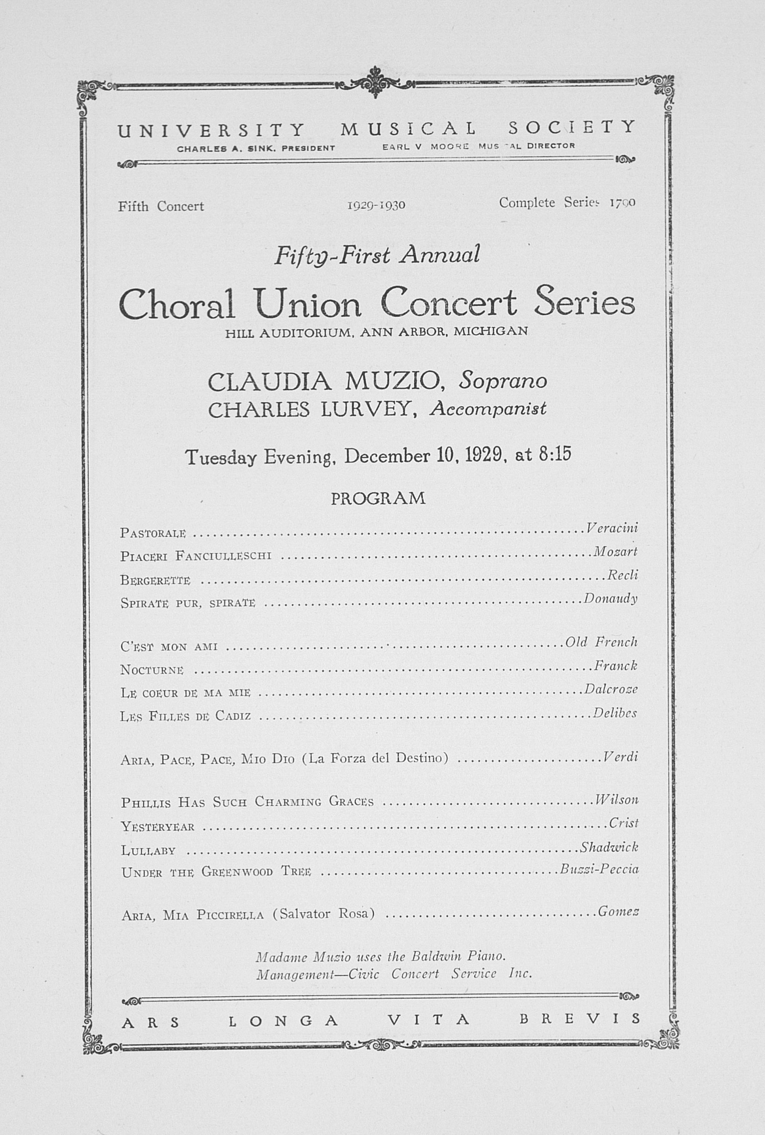 UMS Concert Program, December 10, 1929: Fifty-first Annual Choral Union Concert Series -- Claudia Muzio image