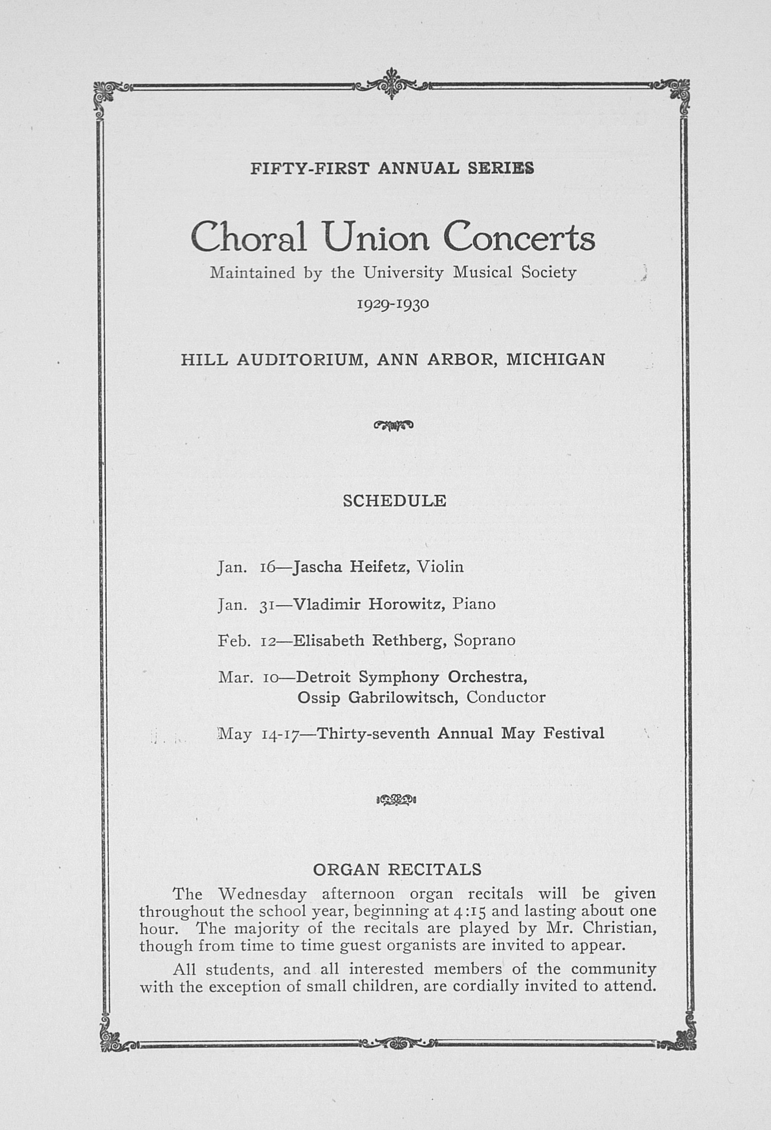UMS Concert Program, January 9, 1930: Fifty-first Annual Choral Union Concert Series -- Giovanni Martinelli image