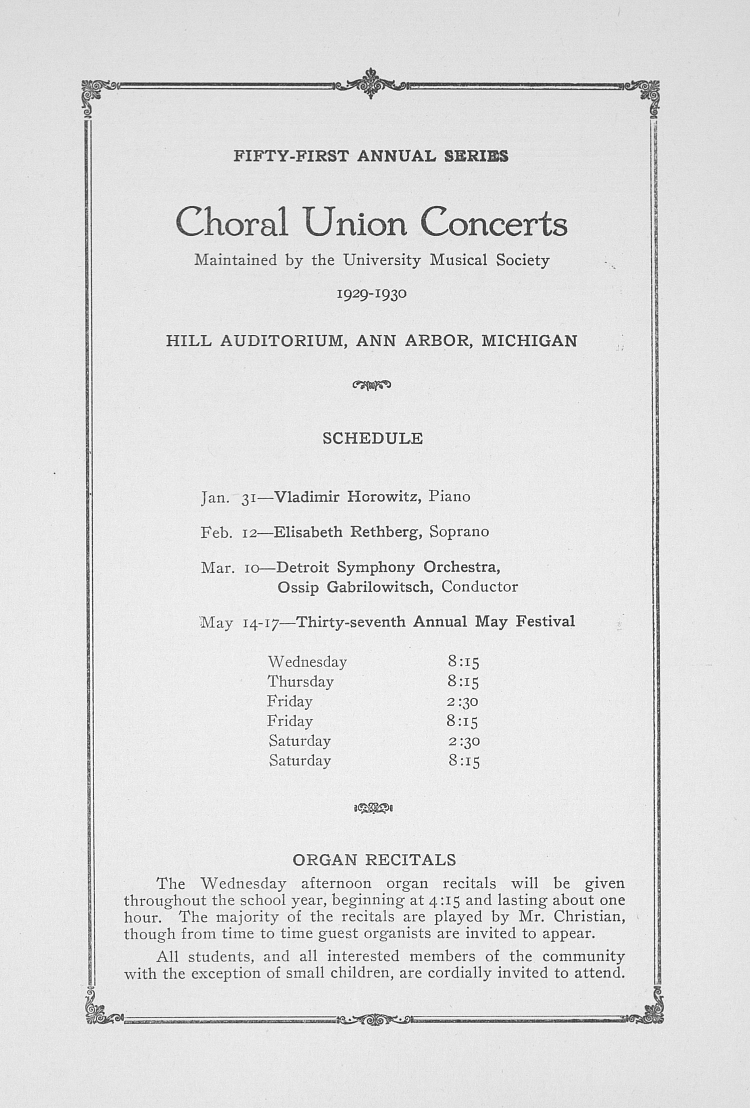 UMS Concert Program, January 16,1930: Fifty-first Annual Choral Union Concert Series -- Heifetz image