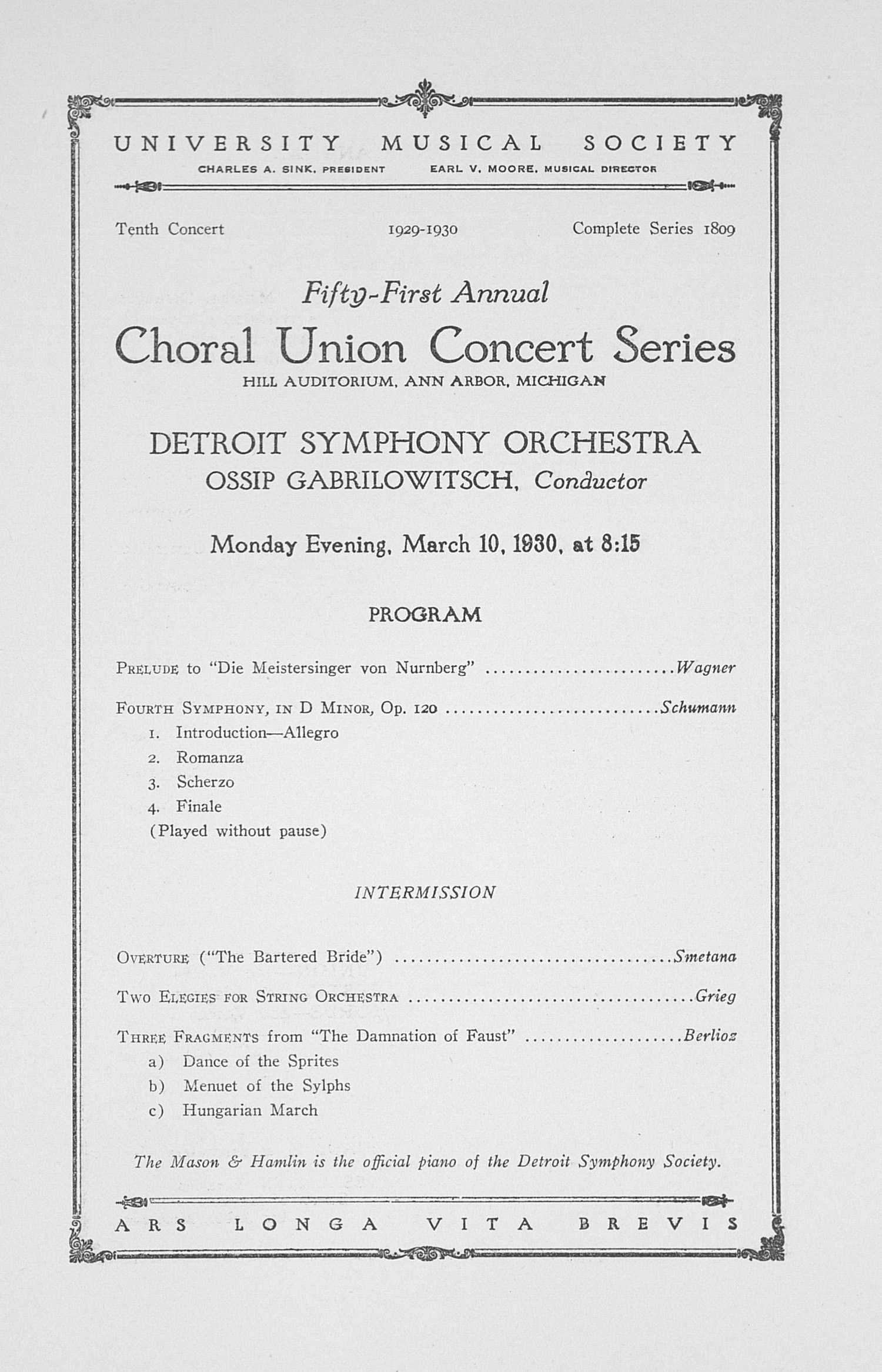 UMS Concert Program, March 10, 1930: Fifty-first Annual Choral Union Concert Series -- Detroit Symphony Orchestra image