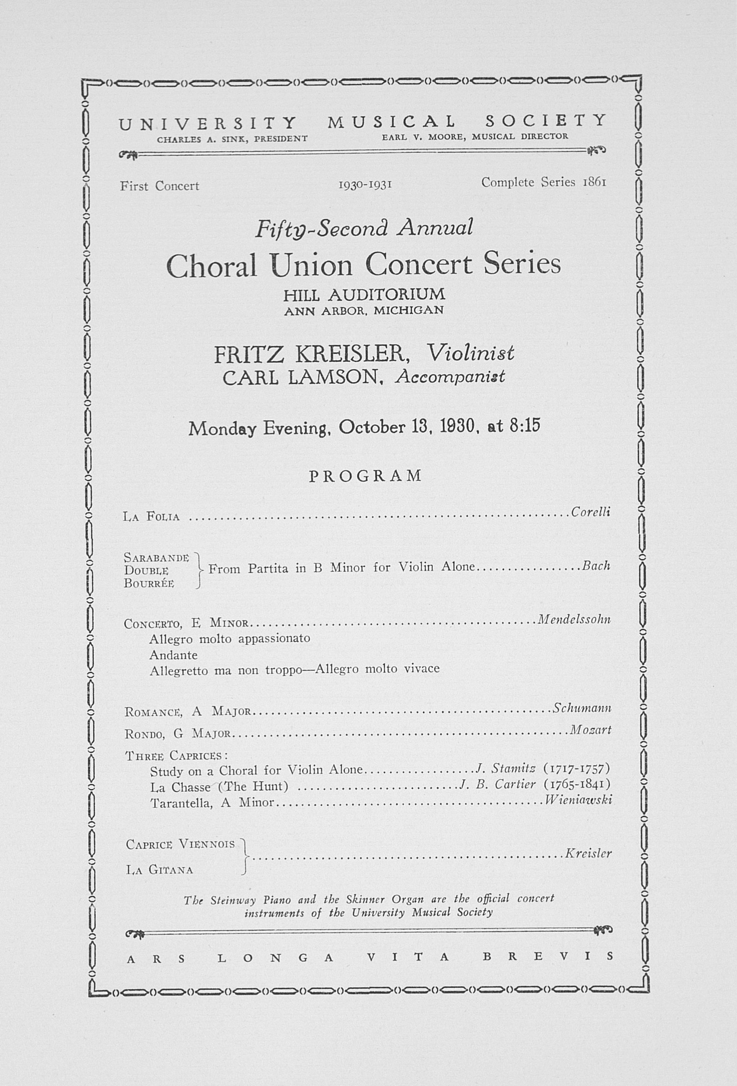 UMS Concert Program, October 13, 1930: Fifty-second Annual Choral Union Concert Series -- Fritz Kreisler image