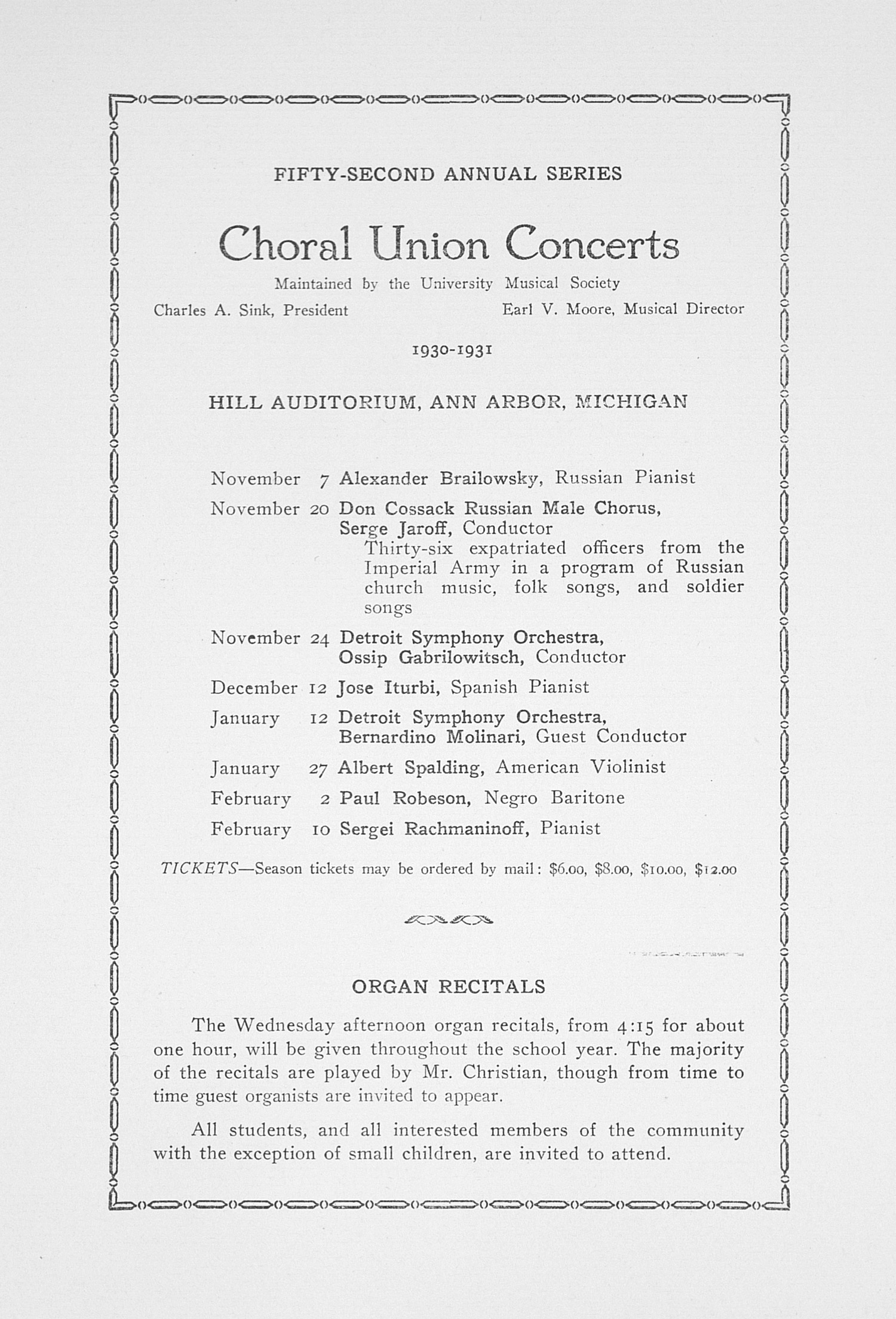 UMS Concert Program, October 31, 1930: Fifty-second Annual Choral Union Concert Series -- Clare Clairbert image