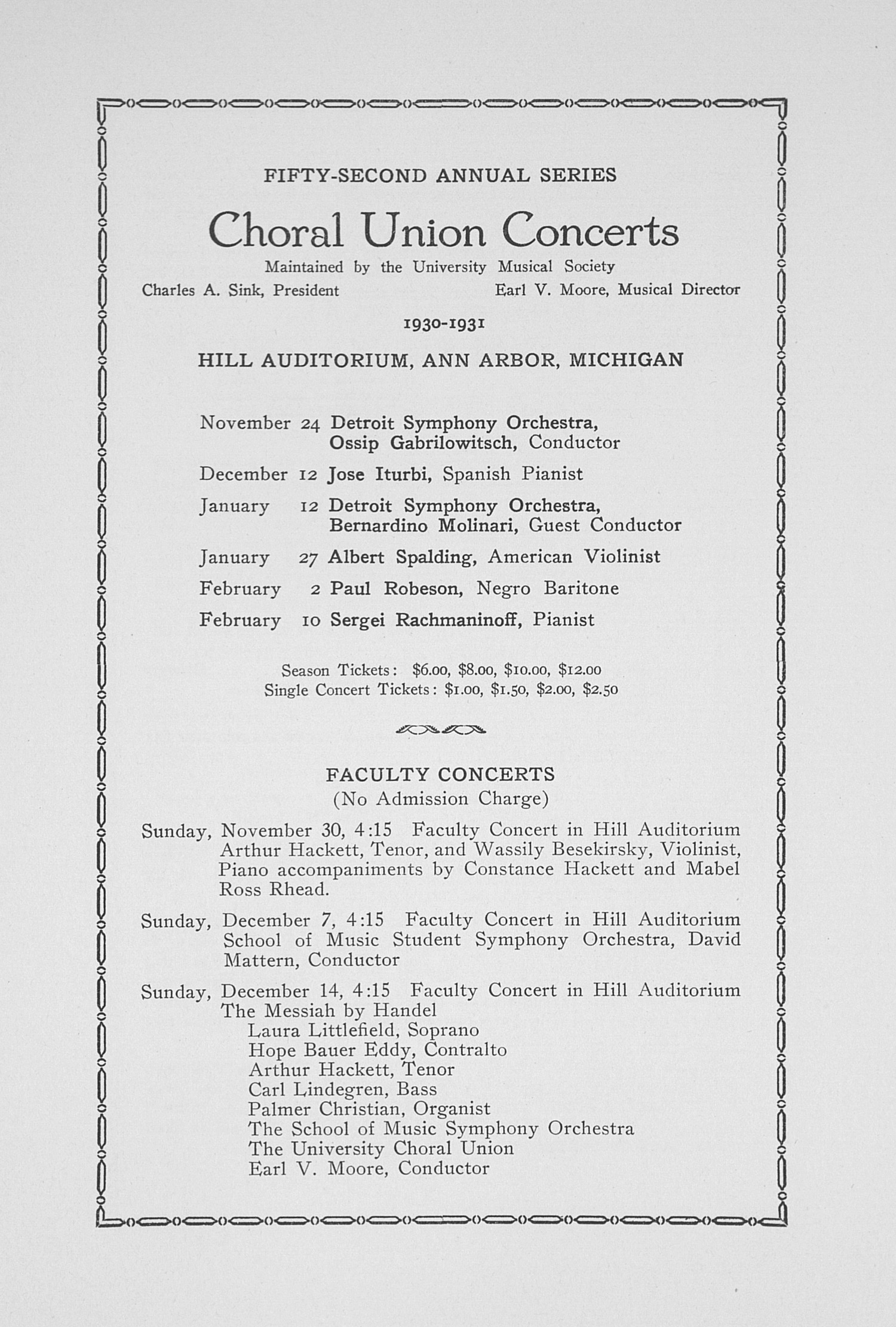 UMS Concert Program, November 20, 1930: Choral Union Concert Series -- Don Cossack image