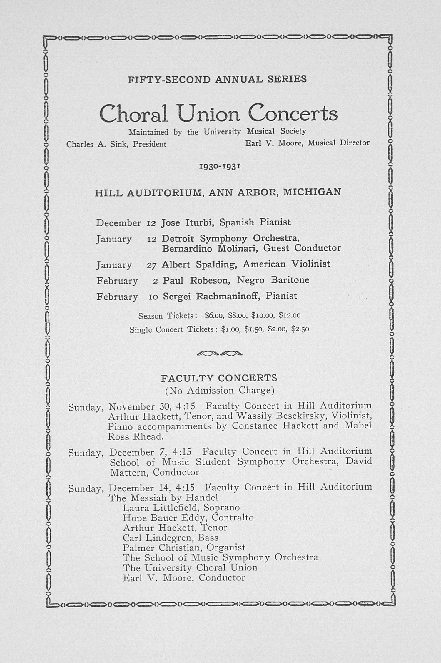 UMS Concert Program, November 24, 1930: Fifty-second Annual Choral Union Concert Series -- Detroit Symphony Orchestra image