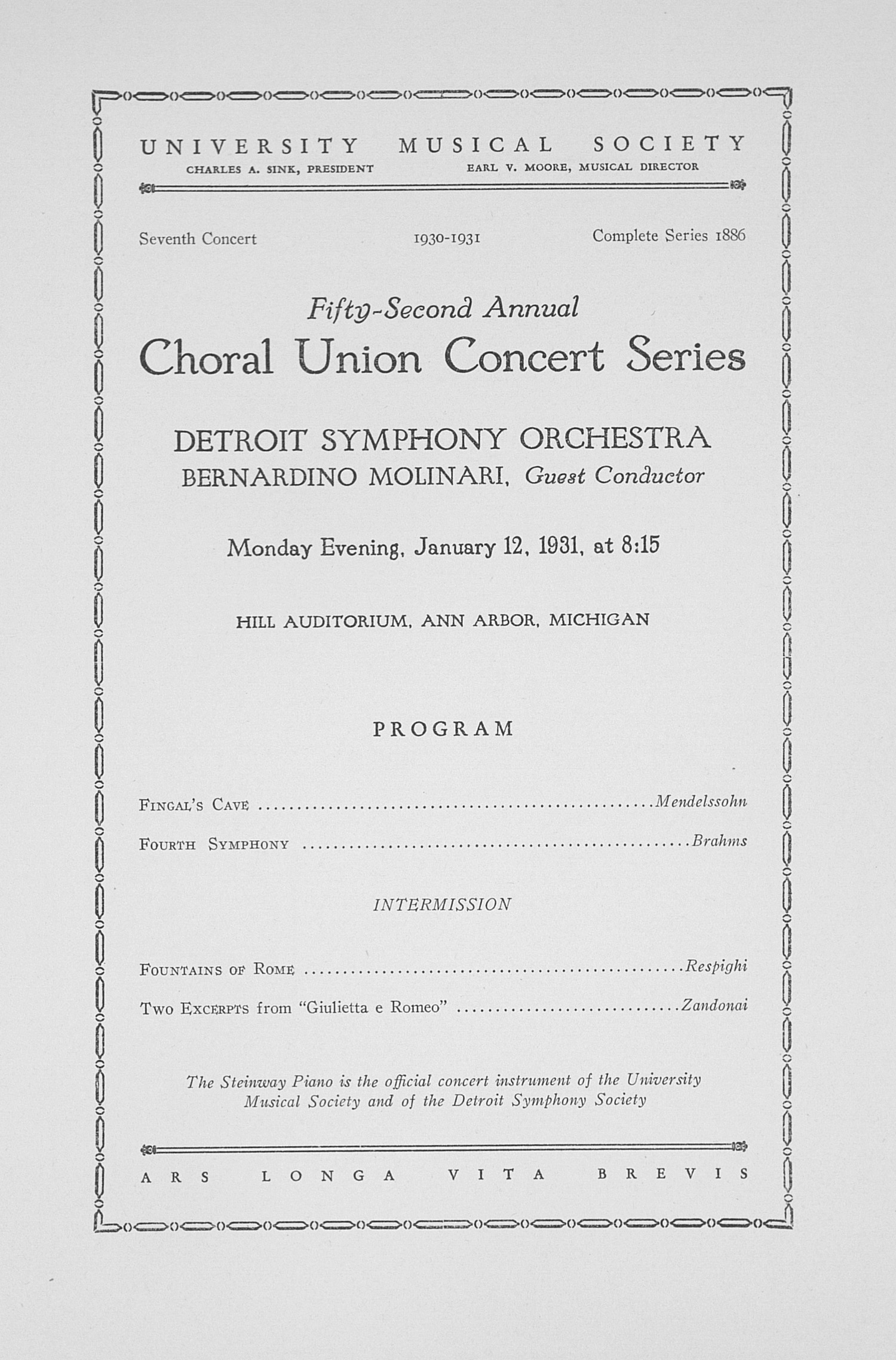 UMS Concert Program, January 12, 1931: Fifty-second Annual Choral Union Concert Series -- Detroit Symphony Orchestra image