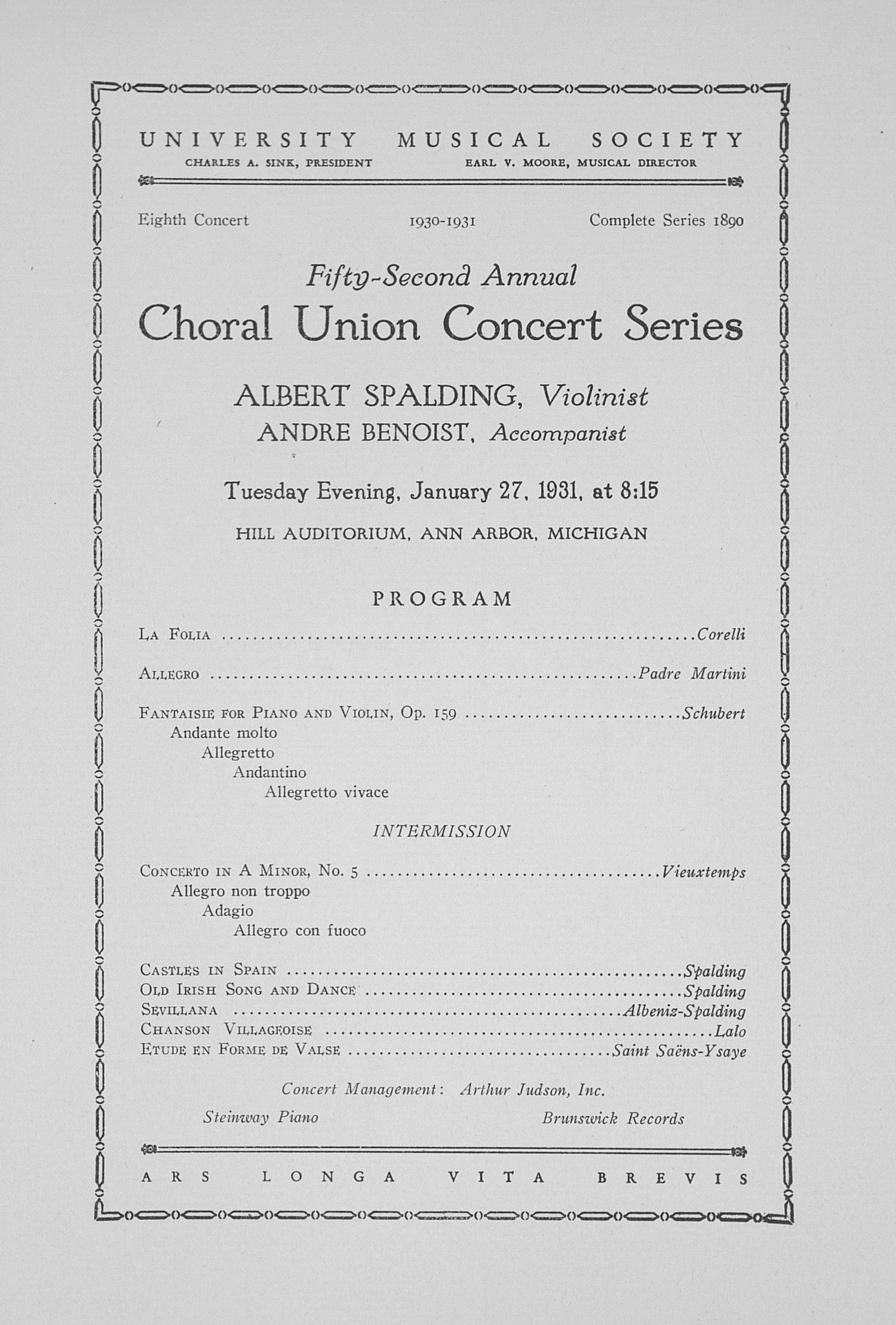UMS Concert Program, January 27, 1931: Fifty-second Annual Choral Union Concert Series -- Albert Spalding image