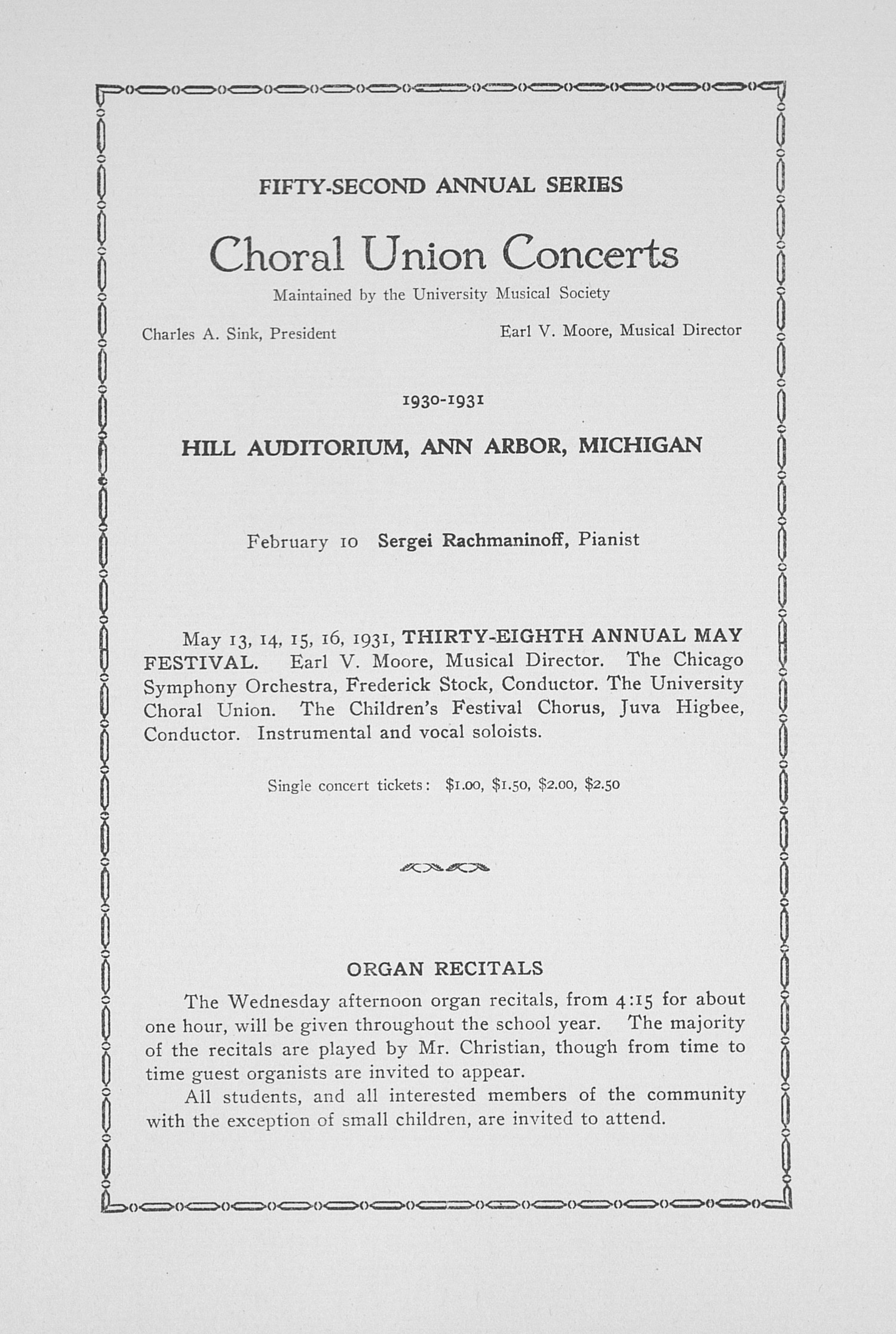 UMS Concert Program, February 2, 1931: Fifty-second Annual Choral Union Concert Series -- Paul Robeson image