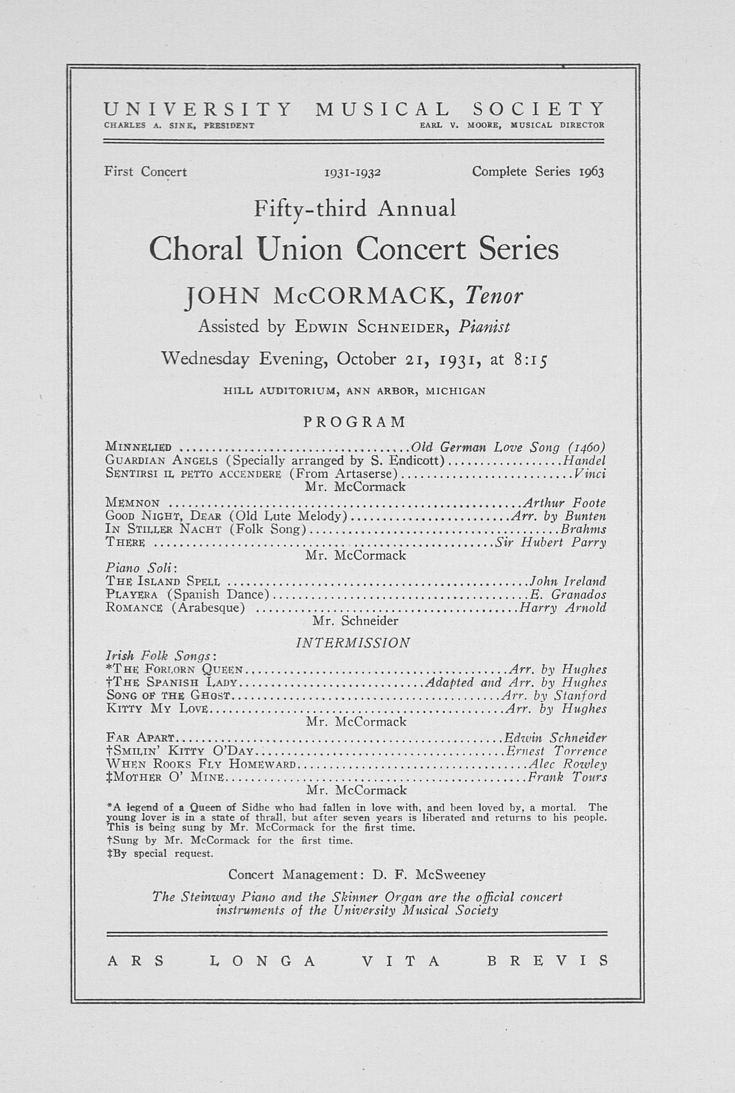 UMS Concert Program, October 21, 1931: Fifty-third Annual Choral Union Concert Series -- John Mccormack image