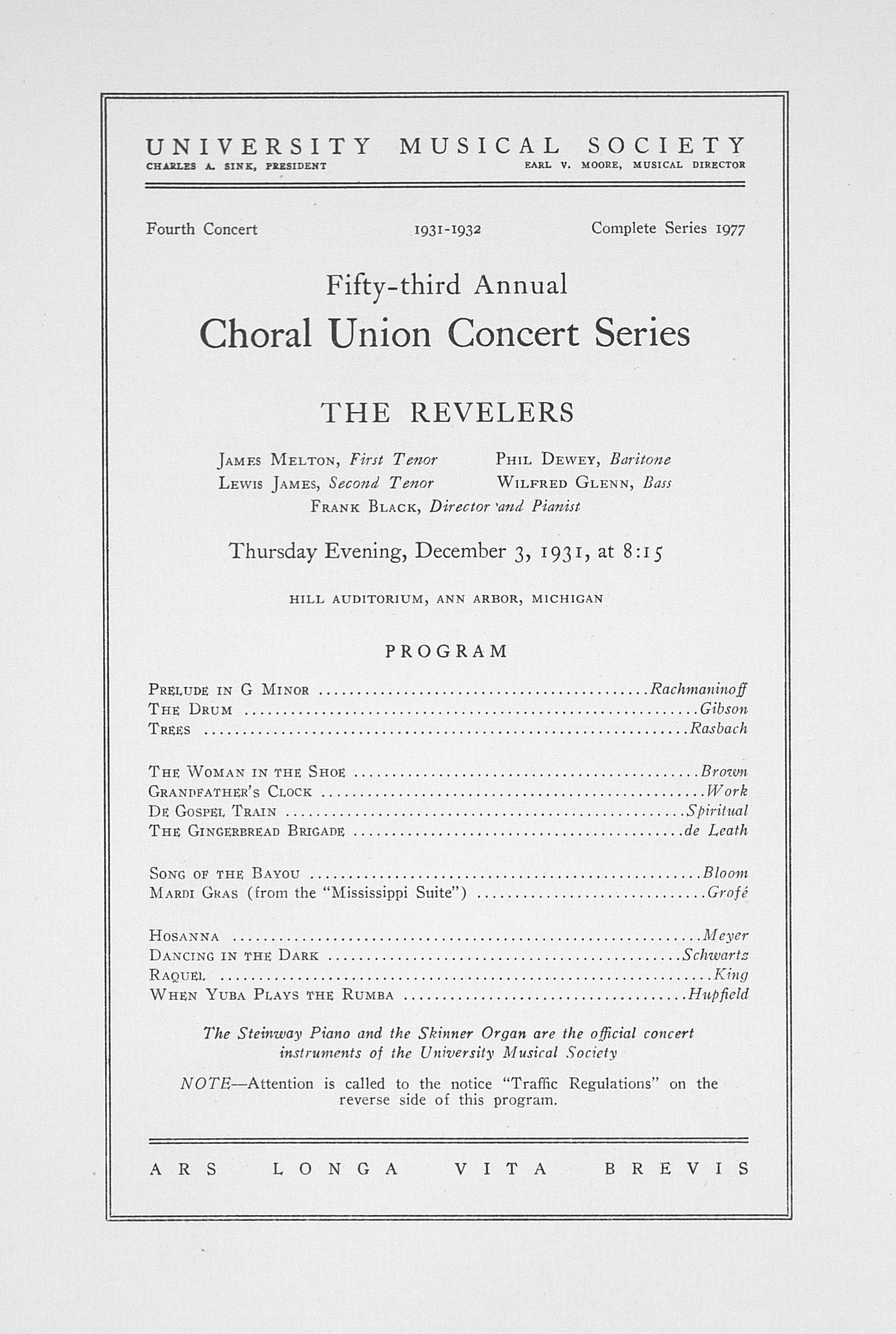 UMS Concert Program, December 3, 1931: Fifty-third Annual Choral Union Concert Series -- The Revelers image