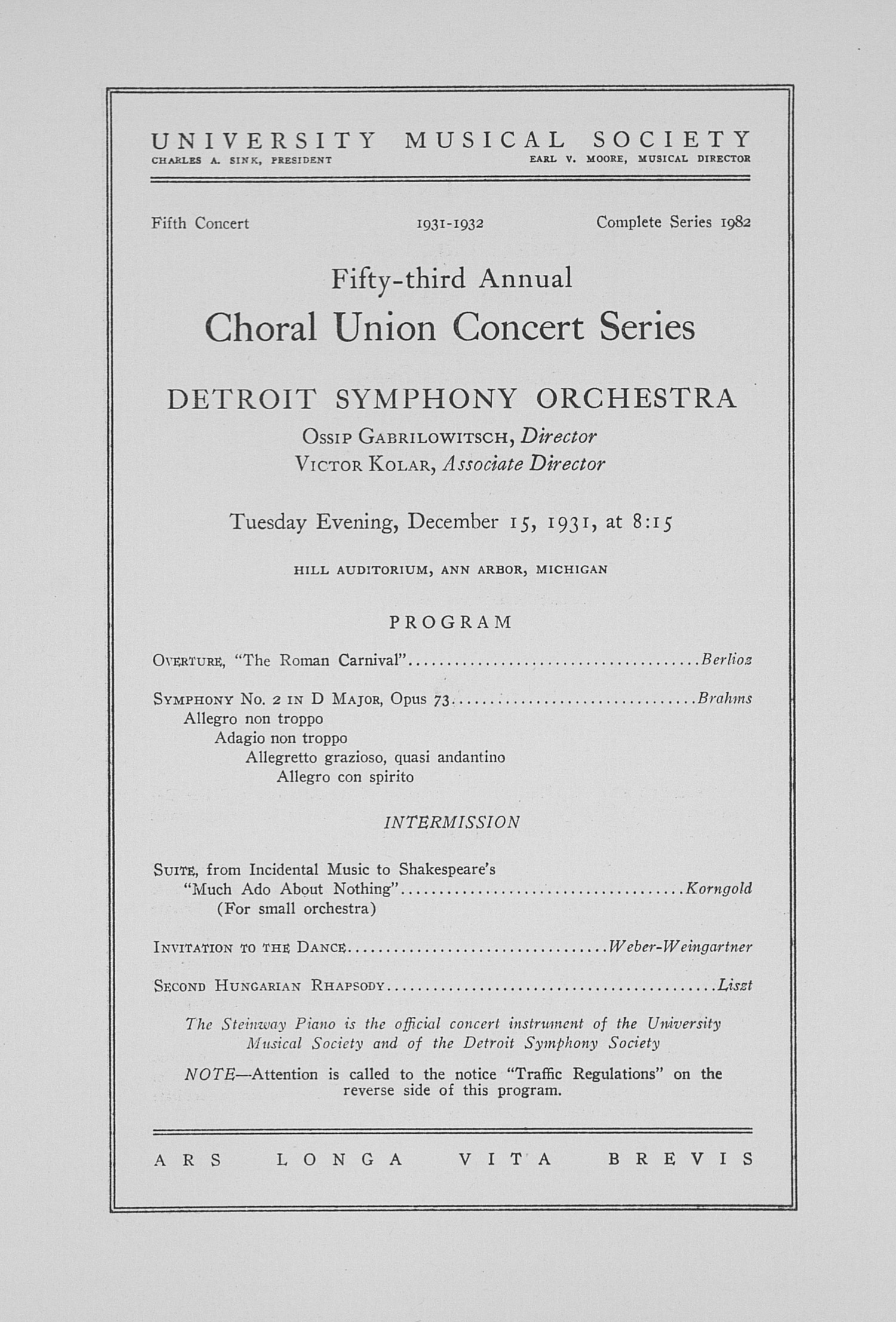 UMS Concert Program, December 15, 1931: Fifty-third Annual Choral Union Concert Series -- Detroit Symphony Orchestra image